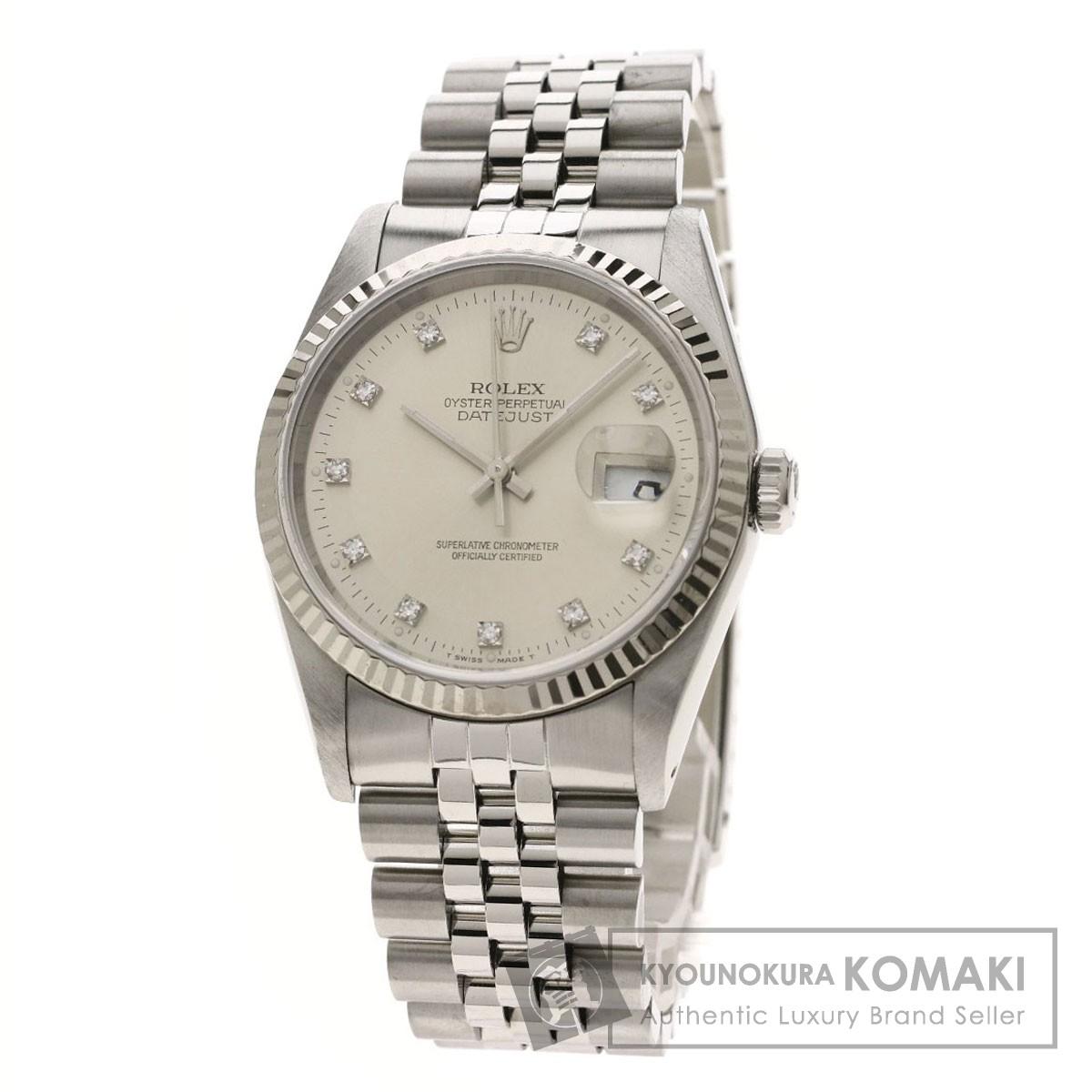 ロレックス 16234G デイトジャスト 10Pダイヤモンド 腕時計 ステンレススチール/SS/K18WG メンズ 【中古】【ROLEX】