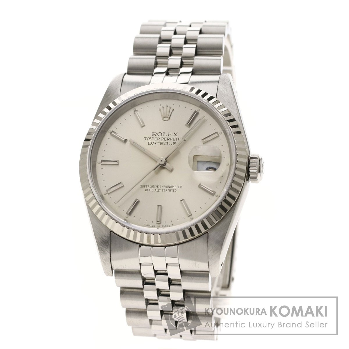 ロレックス 16234 デイトジャスト バーインデックス 腕時計 ステンレススチール/SS/K18WG メンズ 【中古】【ROLEX】