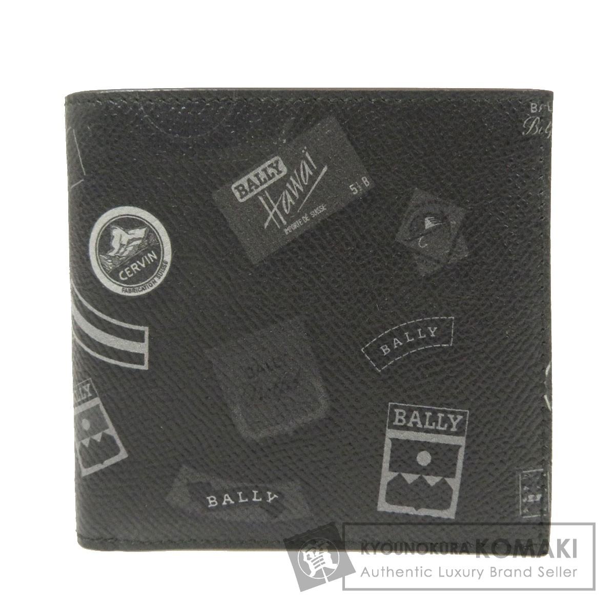 バリー プリント柄 二つ折り財布(小銭入れなし) レザー メンズ 【中古】【BALLY】