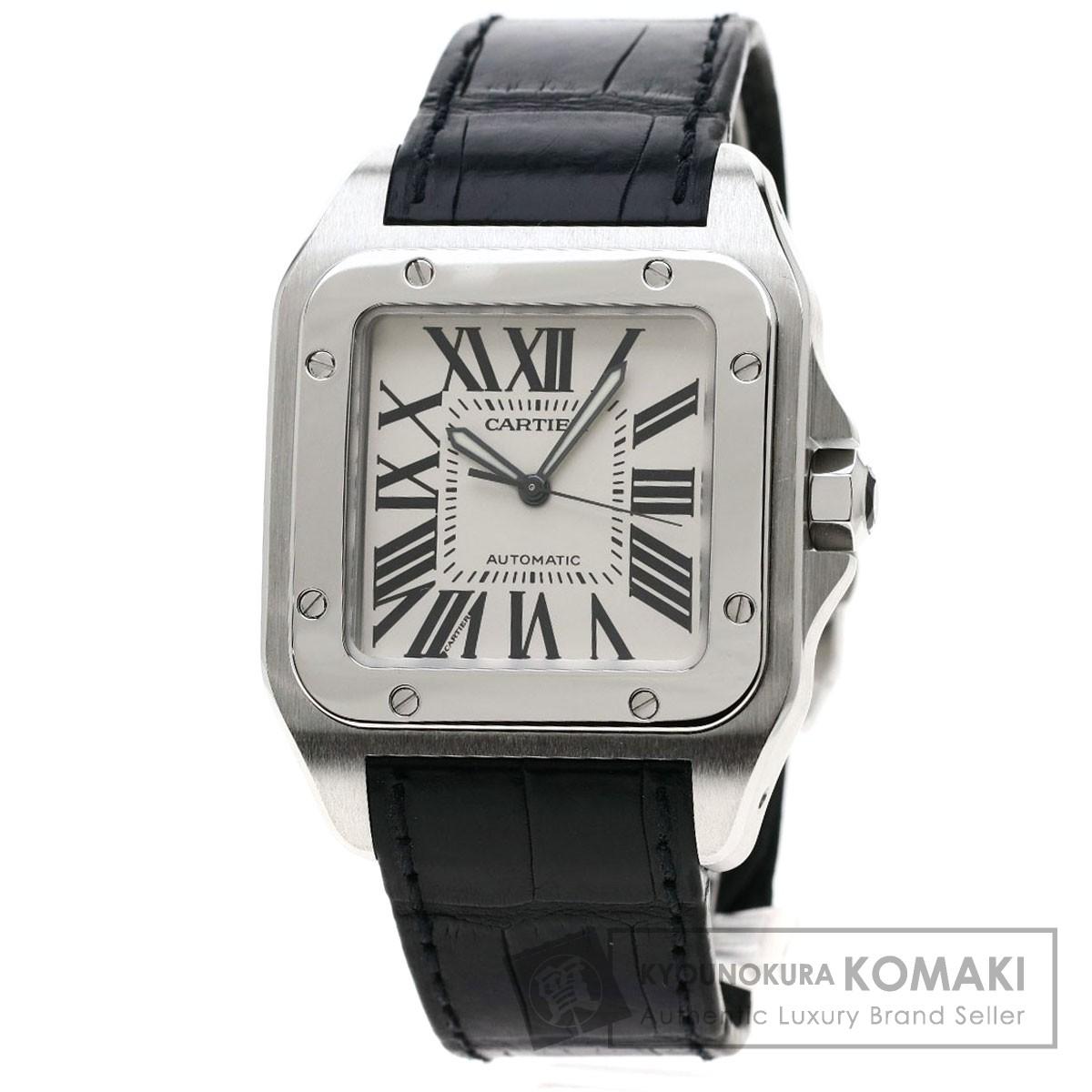 カルティエ W20076X8 サントス100 LM 腕時計 OH済 ステンレススチール/革 メンズ 【中古】【CARTIER】