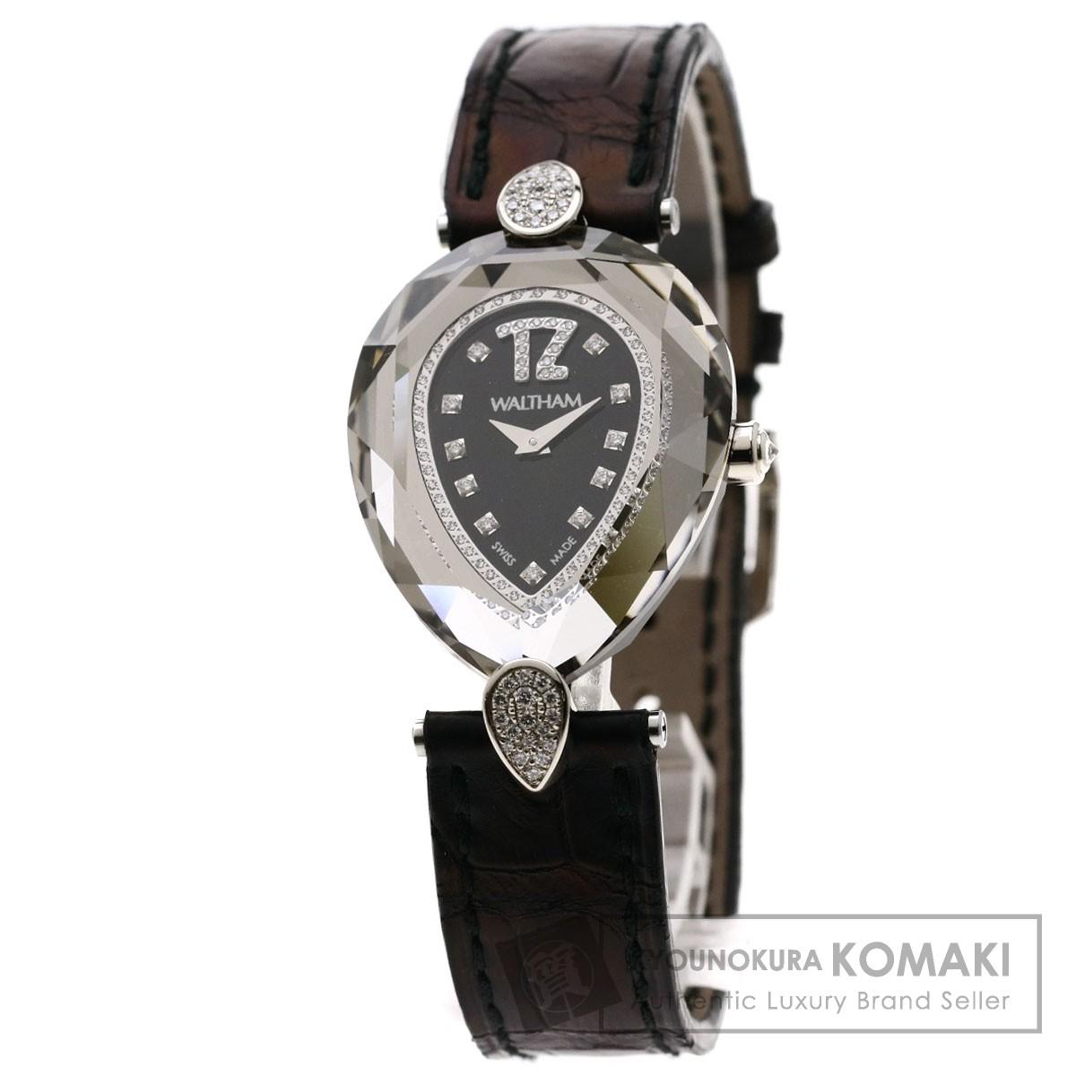 ウォルサム LB34 レディーバローダ ダイヤモンド 腕時計 K18ホワイトゴールド/革 レディース 【中古】【WALTHAM】