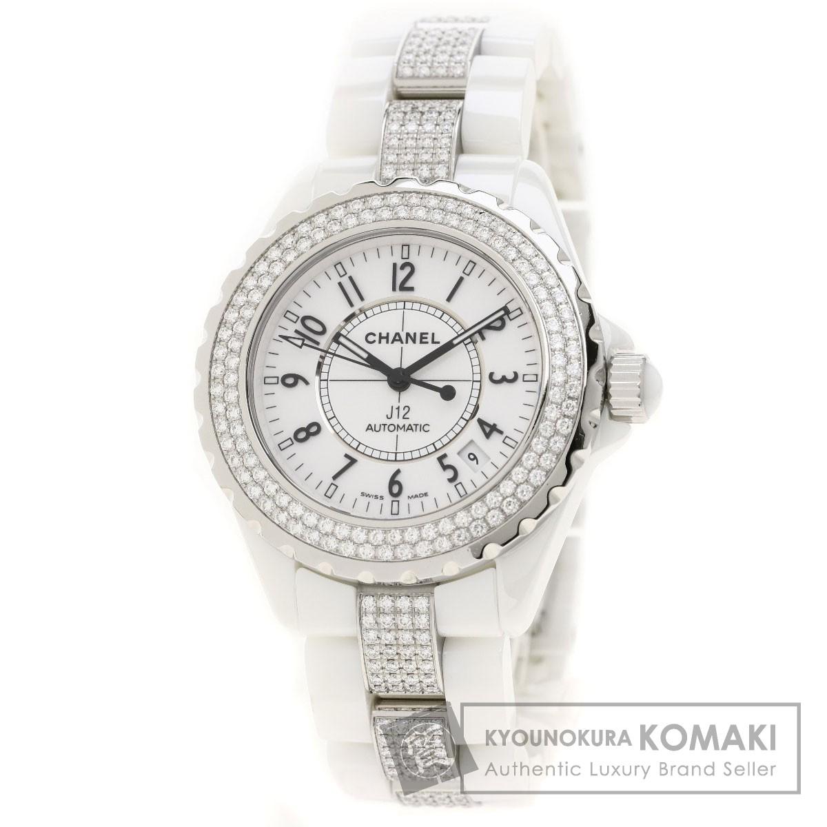 シャネル H1422 J12 38 ダイヤモンドベゼル 腕時計 OH済 セラミック/セラミックxダイヤモンド/ダイヤモンド メンズ 【中古】【CHANEL】