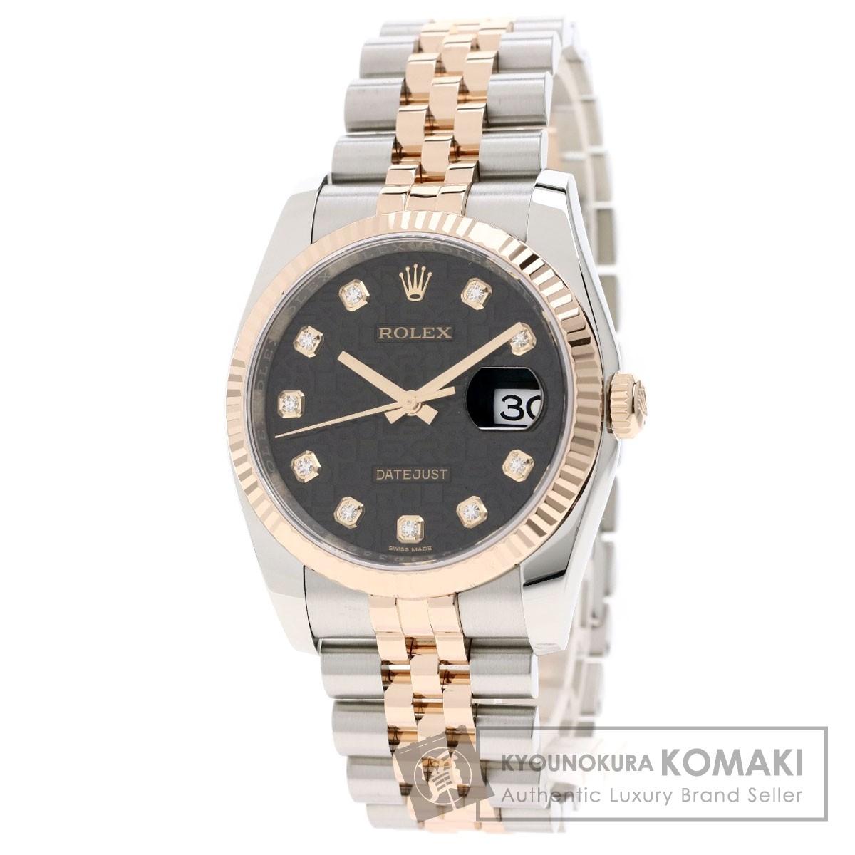 ロレックス 116231G デイトジャスト 10Pダイヤモンド 腕時計 ステンレススチール/SSxK18PG/K18PG メンズ 【中古】【ROLEX】