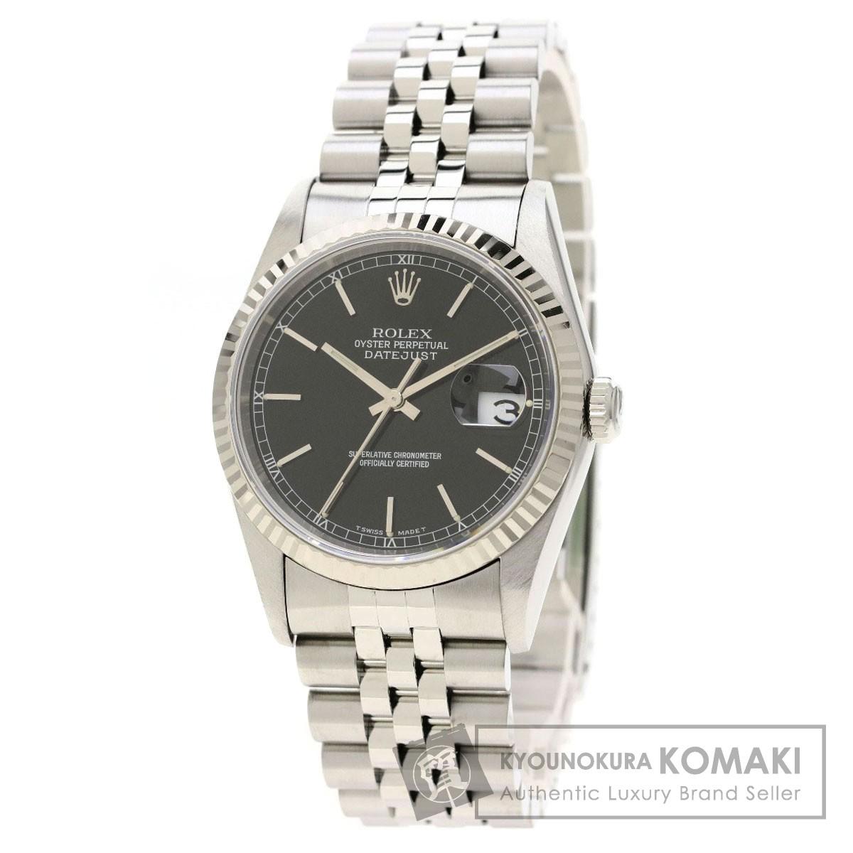 ロレックス 16234 デイトジャスト 腕時計 OH済 ステンレススチール/SS/K18WG メンズ 【中古】【ROLEX】