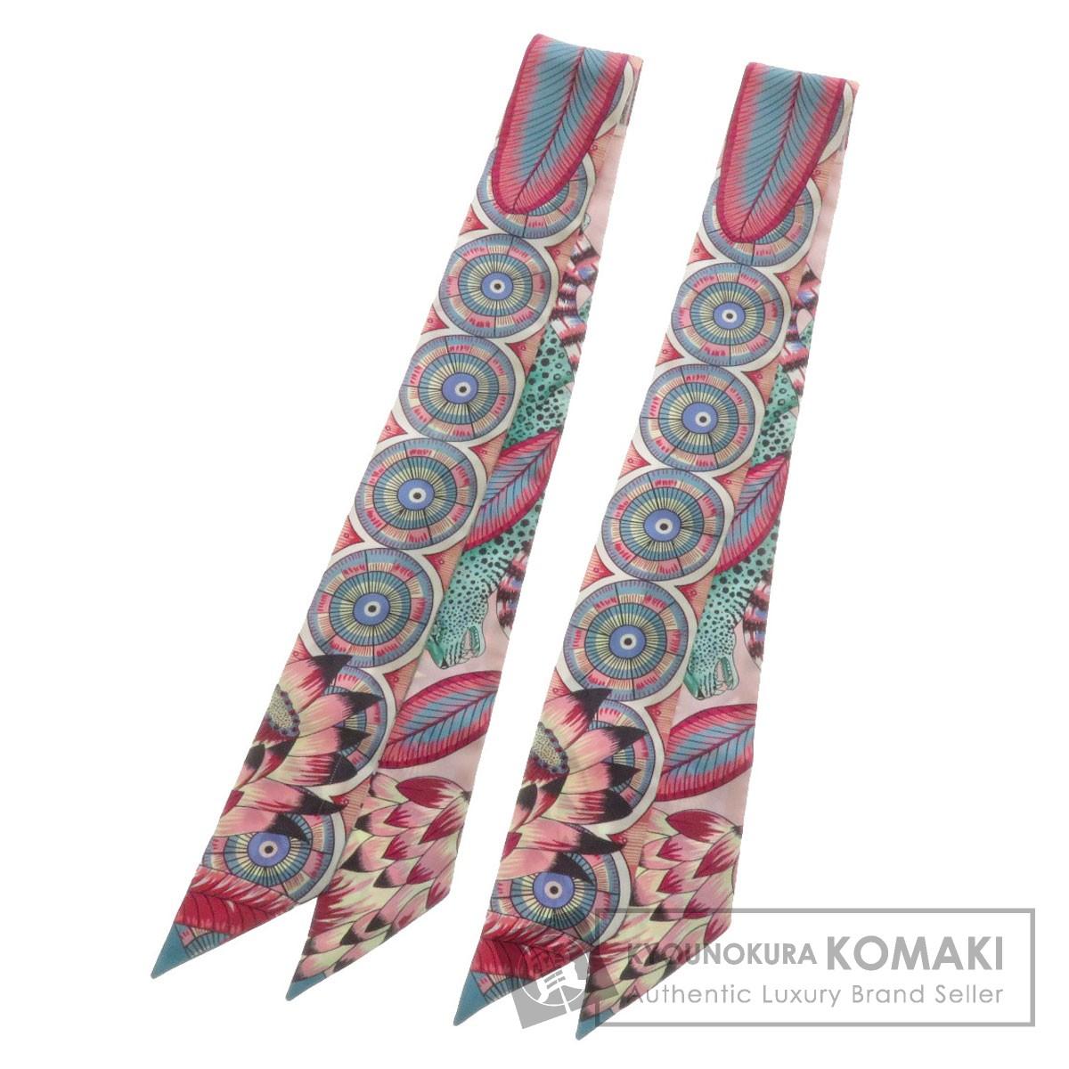 エルメス ツイリー 2本セット 猿 豹 スカーフ シルク レディース 【中古】【HERMES】