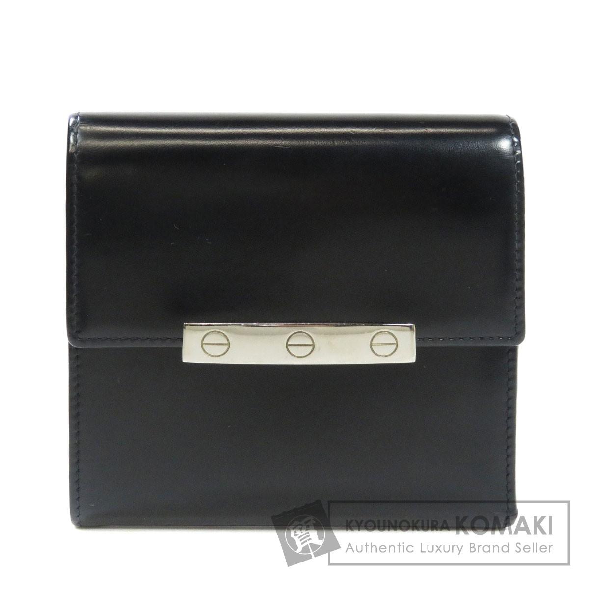 カルティエ 金具モチーフ 二つ折り財布(小銭入れあり) パテントレザー レディース 【中古】【CARTIER】
