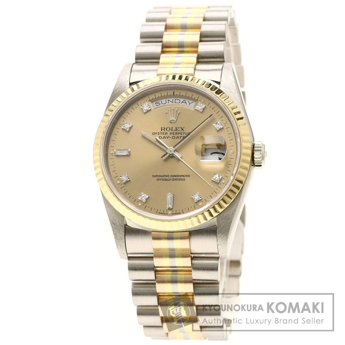 ロレックス 18239BIC デイデイト トリドール ダイヤモンド 腕時計 OH済 K18ホワイトゴールド/K18WGxK18PGxK18YG メンズ 【中古】【ROLEX】