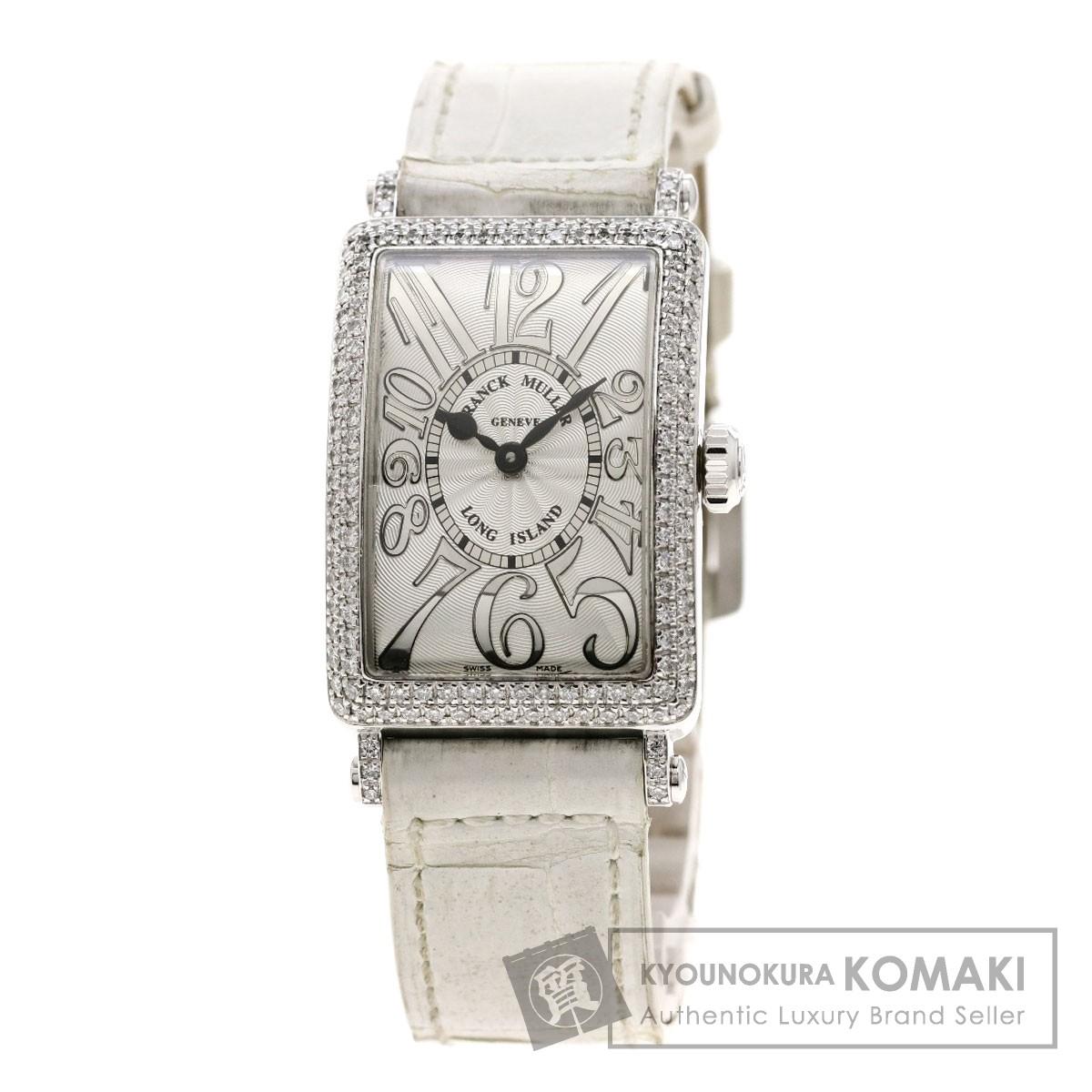 フランクミュラー 902QZD ロングアイランド ダイヤモンドベゼル  腕時計 K18ホワイトゴールド/革/ダイヤモンド レディース 【中古】【FRANCK MULLER】