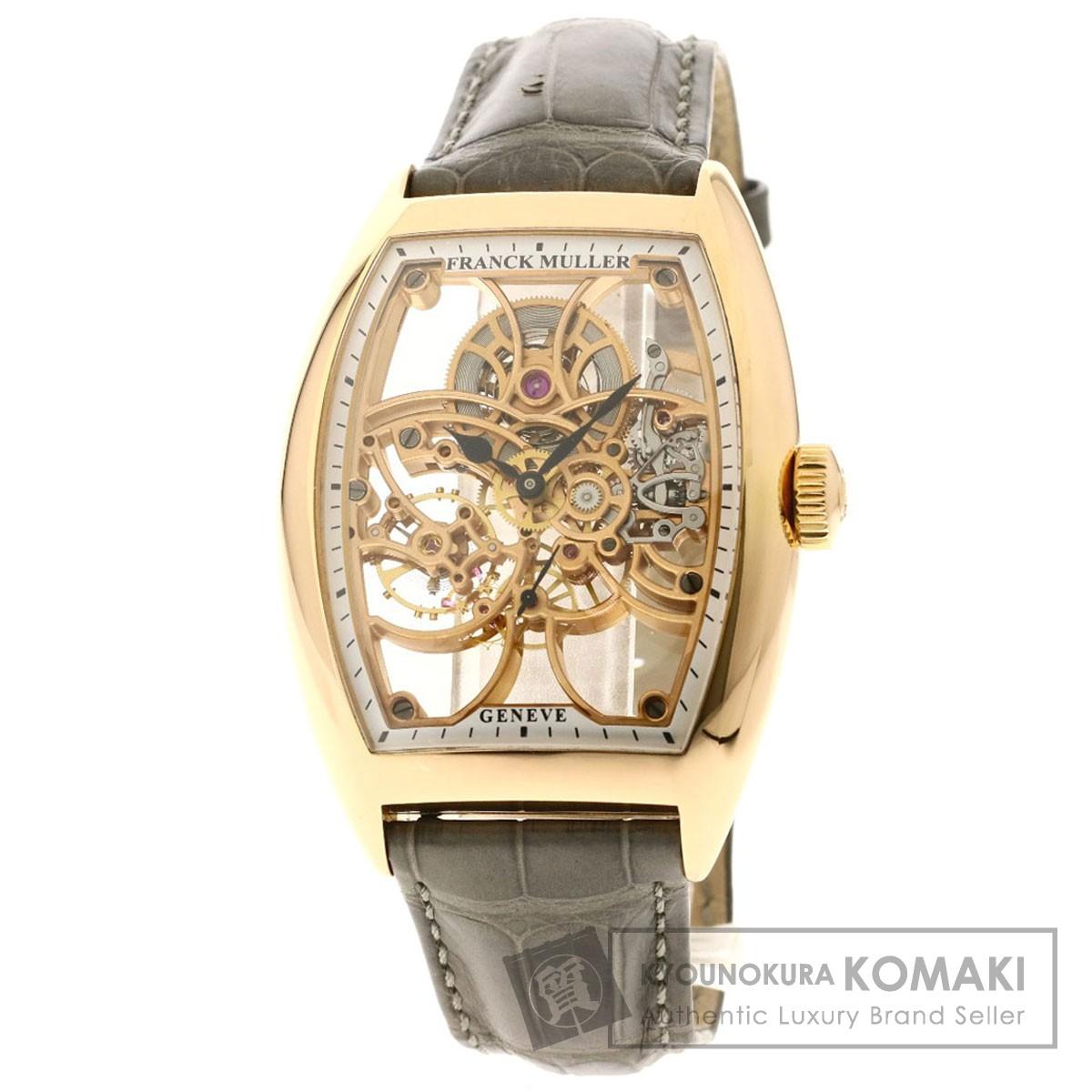 フランクミュラー 8880BS6SQT トノウカーベックス セブンデイズ パワーリザーブ スケルトン 腕時計 K18ピンクゴールド/革 メンズ 【中古】【FRANCK MULLER】