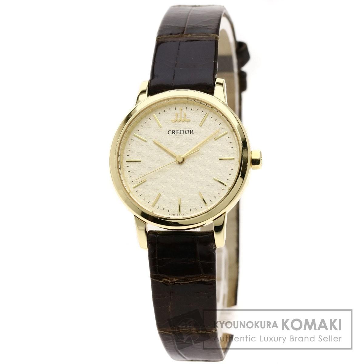 セイコー GTAS012 クレドール 腕時計 K18イエローゴールド/クロコダイル レディース 【中古】【SEIKO】