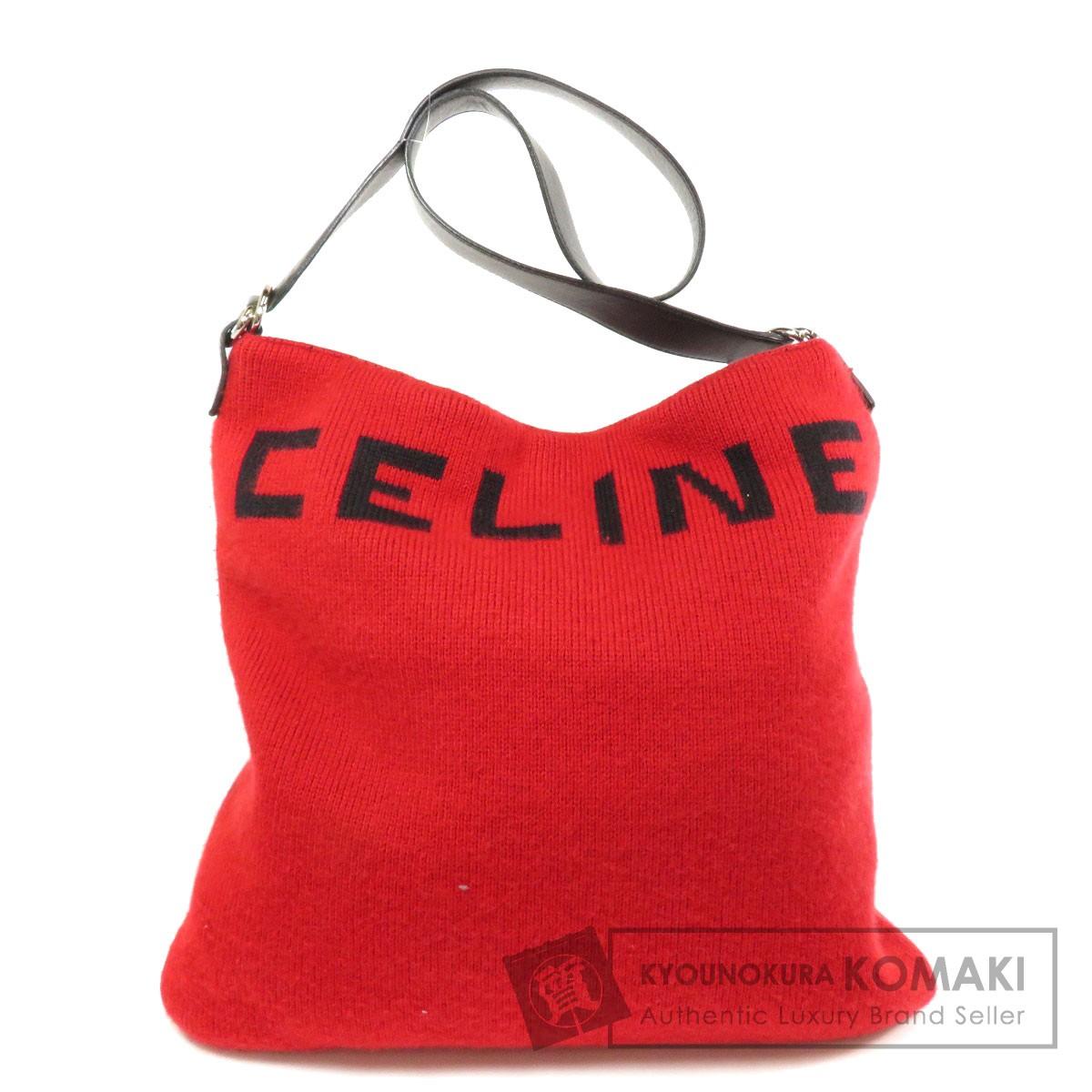 セリーヌ ロゴモチーフ ショルダーバッグ ニット/レザー レディース 【中古】【CELINE】