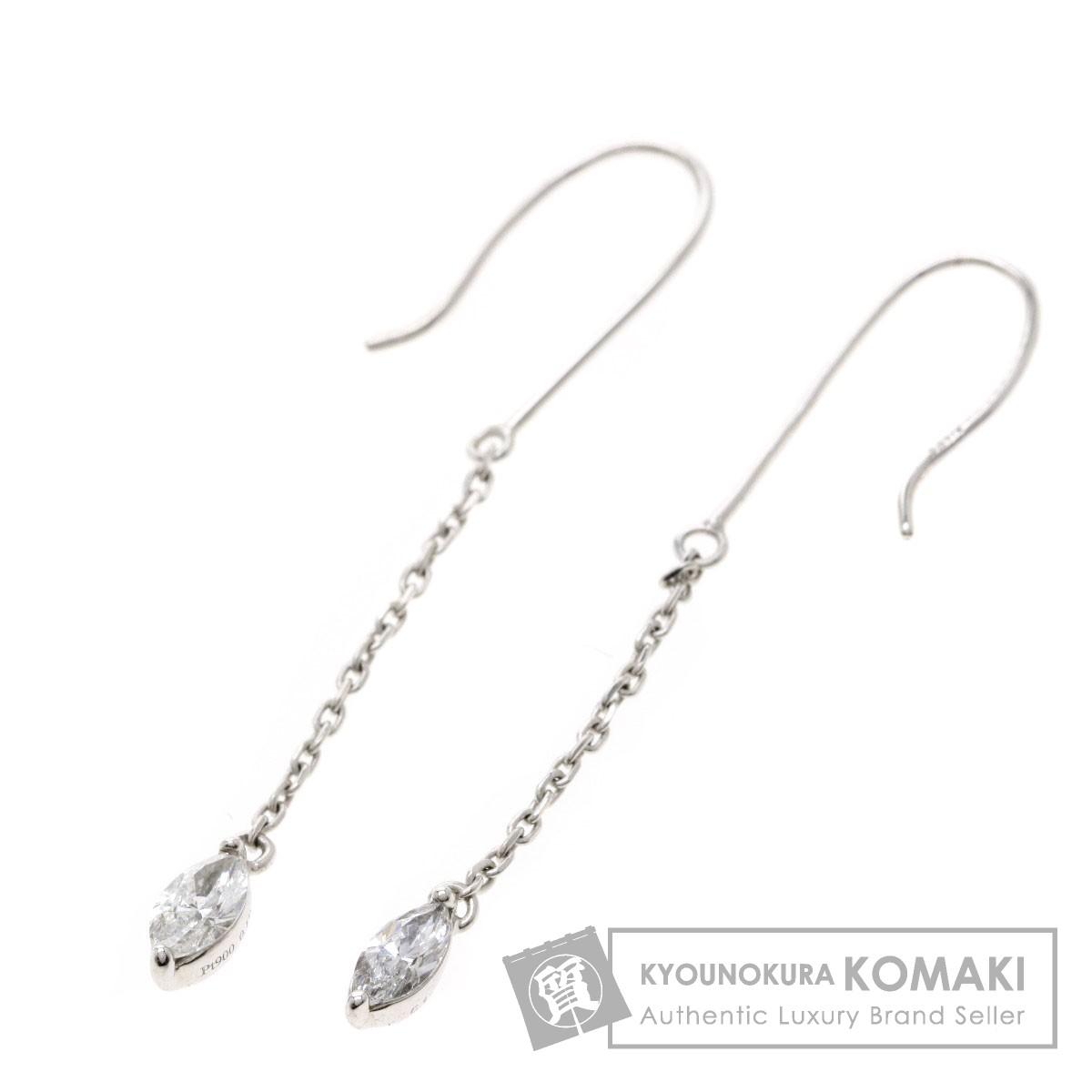 0.19ct ダイヤモンド マーキスカット ピアス K14ホワイトゴールド/PT900 1.2g レディース 【中古】