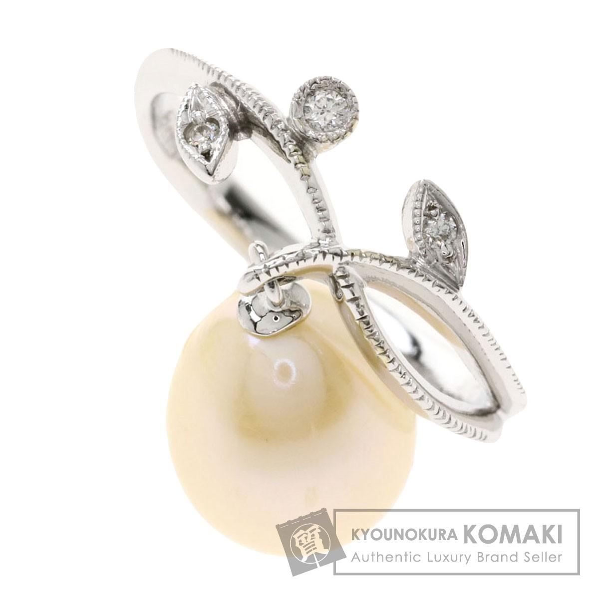 0.04ct パール 真珠 メレダイヤモンド リング・指輪 K18ホワイトゴールド 3.8g レディース 【中古】