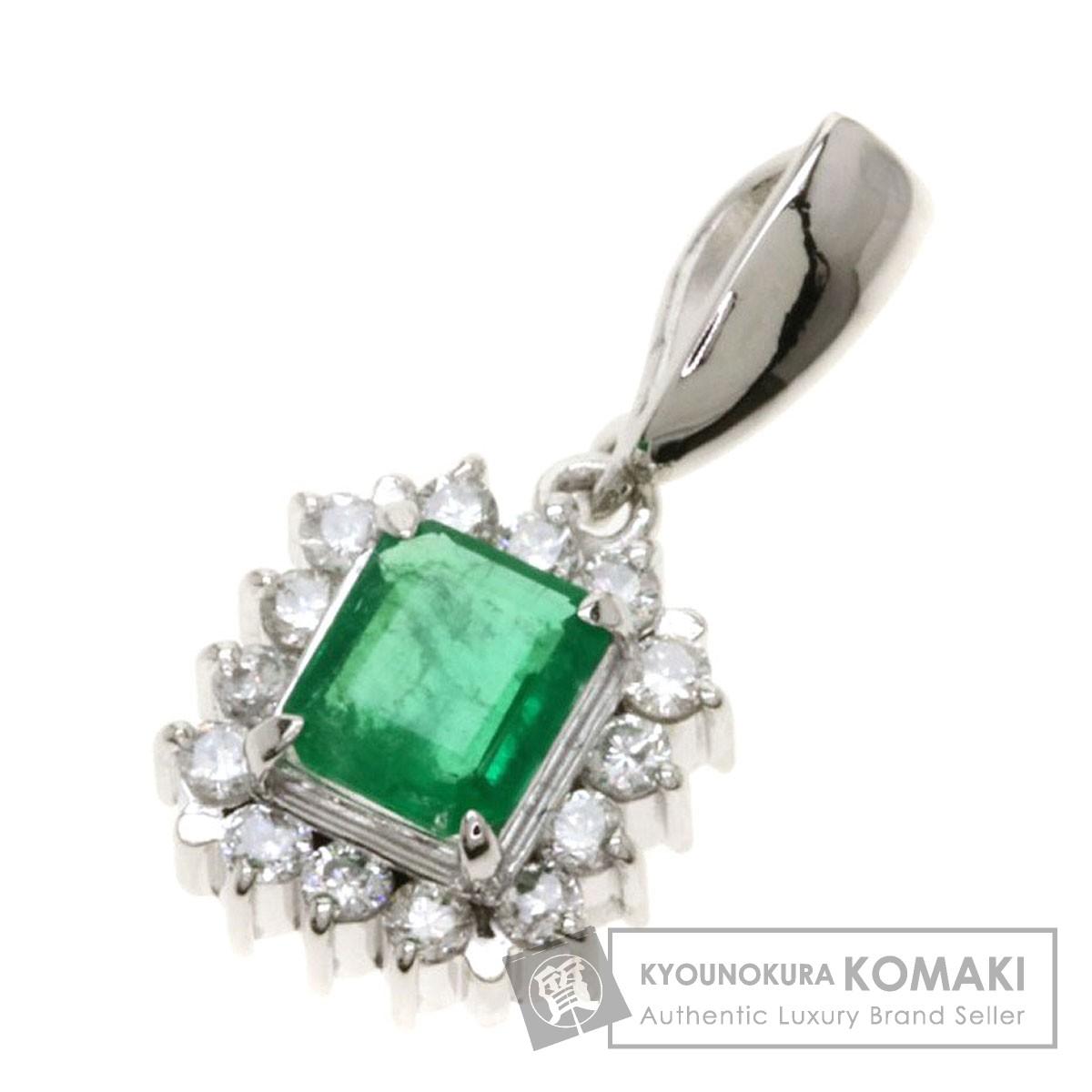 0.26ct エメラルドダイヤモンド ペンダントトップ プラチナPT900 1.4g レディース 【中古】