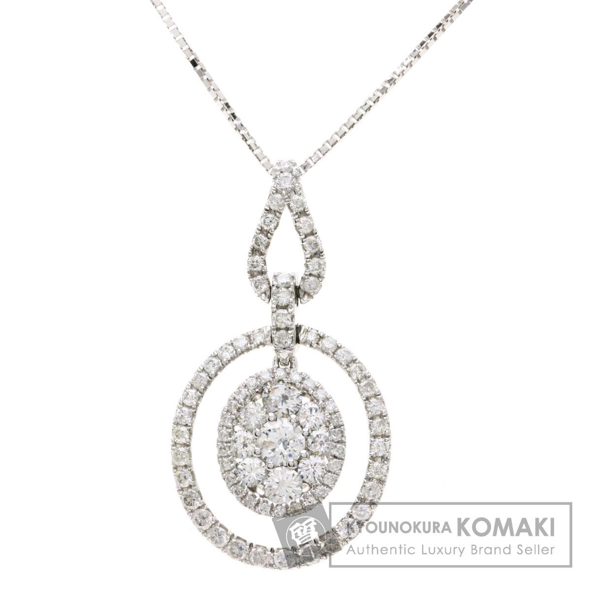 0.86ct ダイヤモンド ネックレス K18ホワイトゴールド 4.6g レディース 【中古】