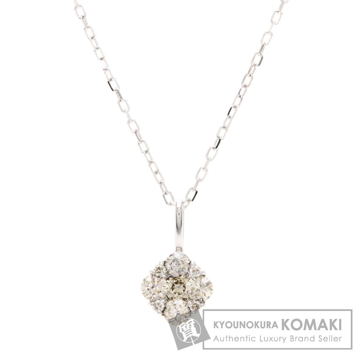 0.3ct ダイヤモンド ネックレス K18ホワイトゴールド 1.6g レディース 【中古】