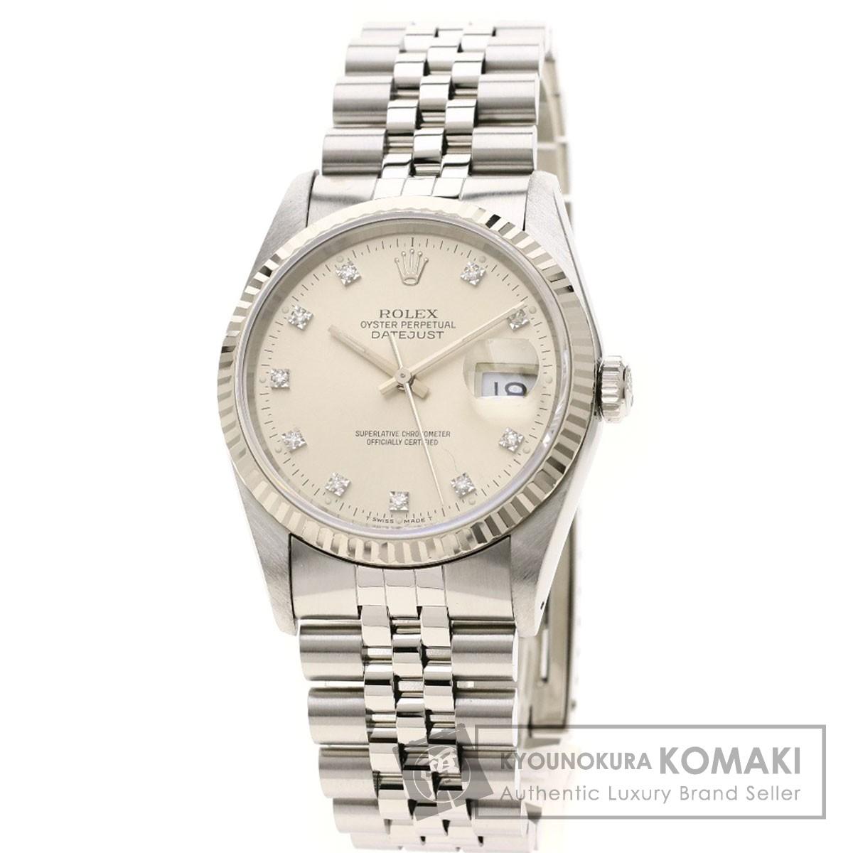 ロレックス 16234G デイトジャスト 10Pダイヤモンド 腕時計 OH済 ステンレススチール/SS/K18WG メンズ 【中古】【ROLEX】