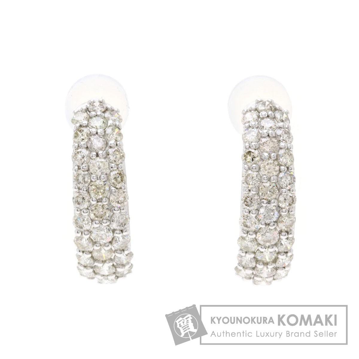 0.5ct ダイヤモンド ピアス K18ホワイトゴールド 1.5g レディース 【中古】