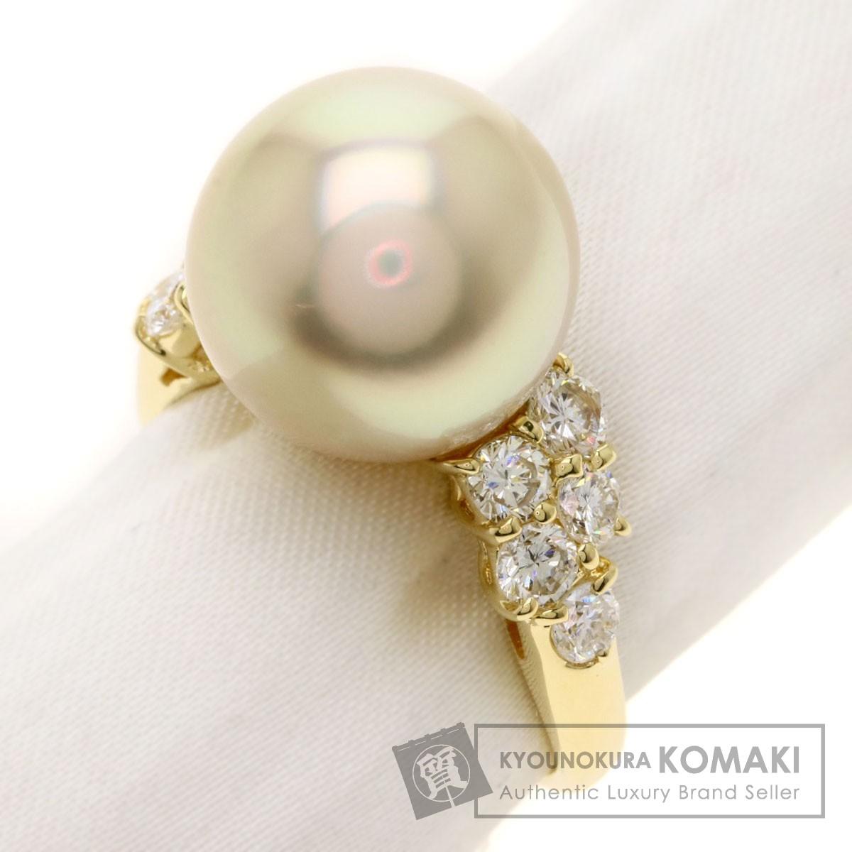 パール 真珠 ダイヤモンド リング・指輪 K18イエローゴールド 6.9g レディース 【中古】