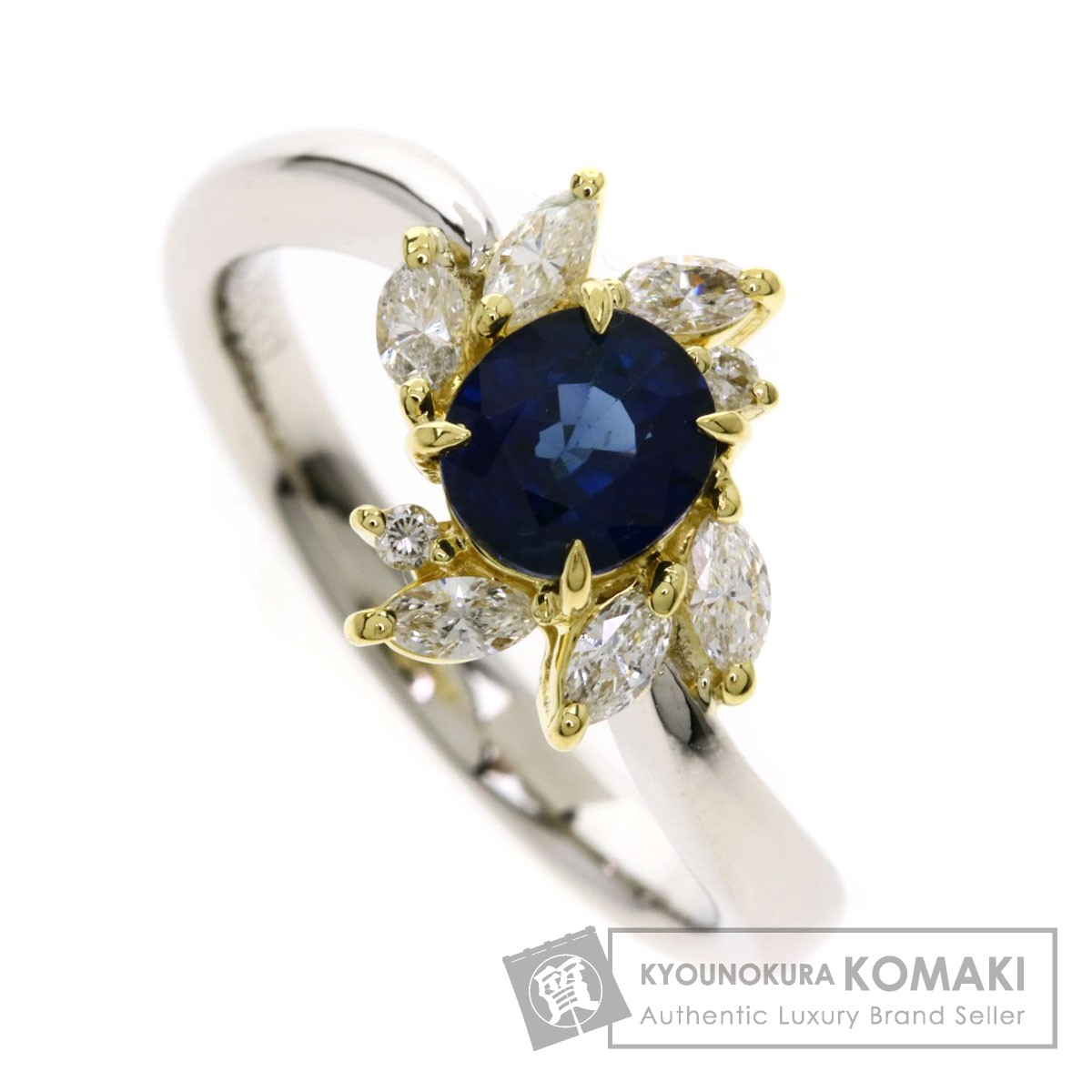 1.05ct サファイア ダイヤモンド リング・指輪 プラチナPT900/K18YG 5.5g レディース 【中古】