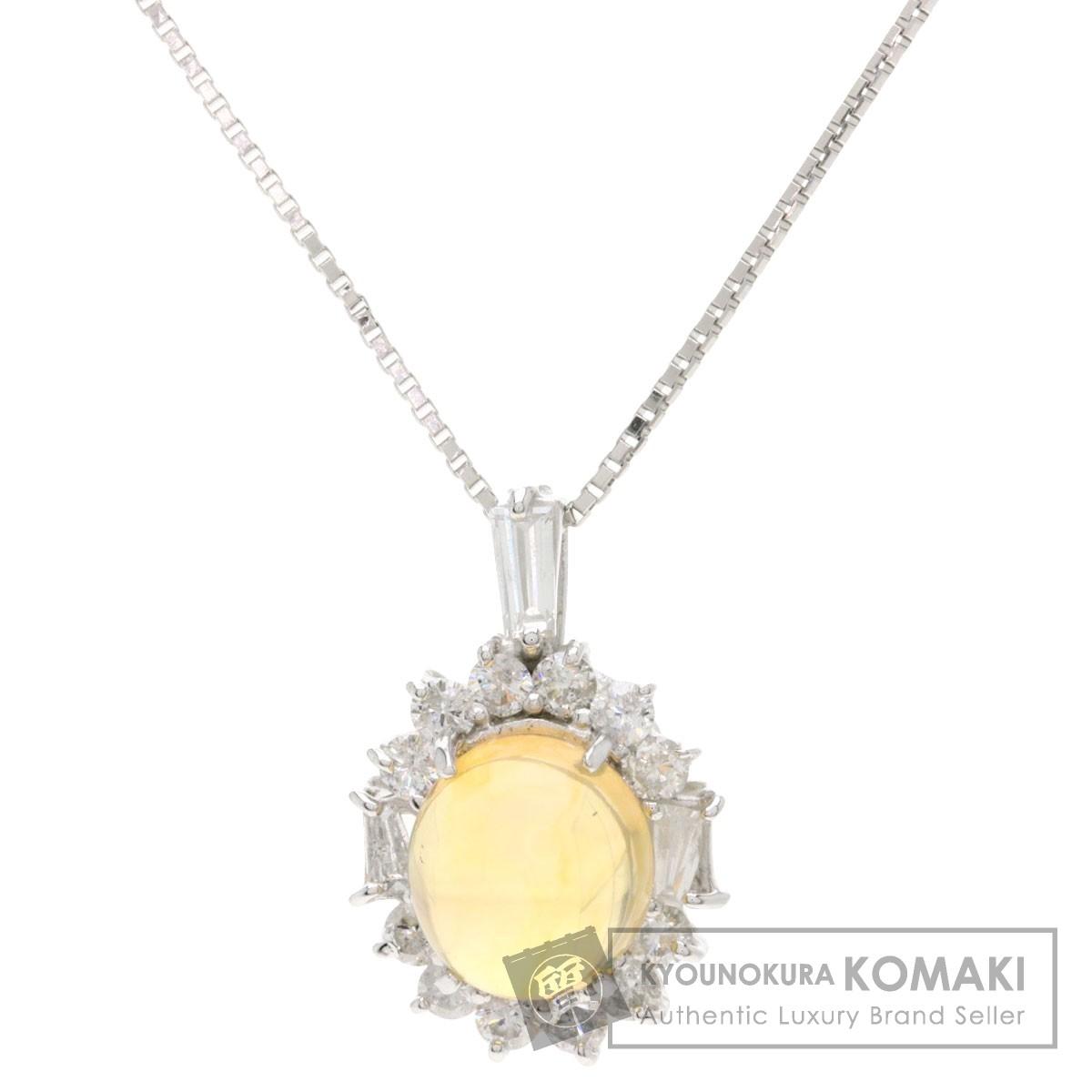 1.41ct オパール ダイヤモンド ネックレス プラチナPT850/K18WG 3.8g レディース 【中古】