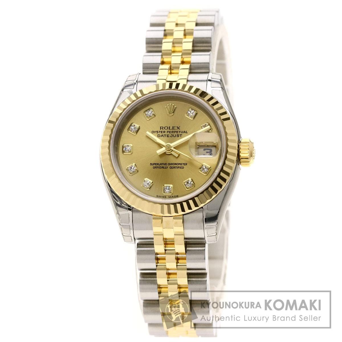 ロレックス 179173G デイトジャスト 10Pダイヤモンド 腕時計 ステンレススチール/SSxK18YG/K18YG レディース 【中古】【ROLEX】