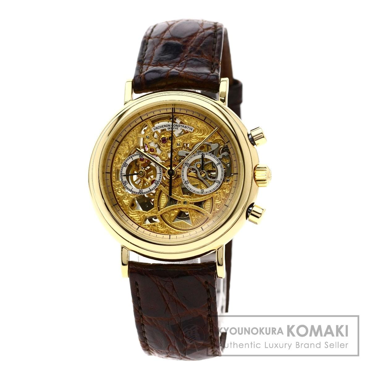 ヴァシュロン・コンスタンタン 47100/00J 7563 クロノグラフ スケルトン 腕時計 K18イエローゴールド/革 メンズ 【中古】【VACHERON CONSTANTIN】
