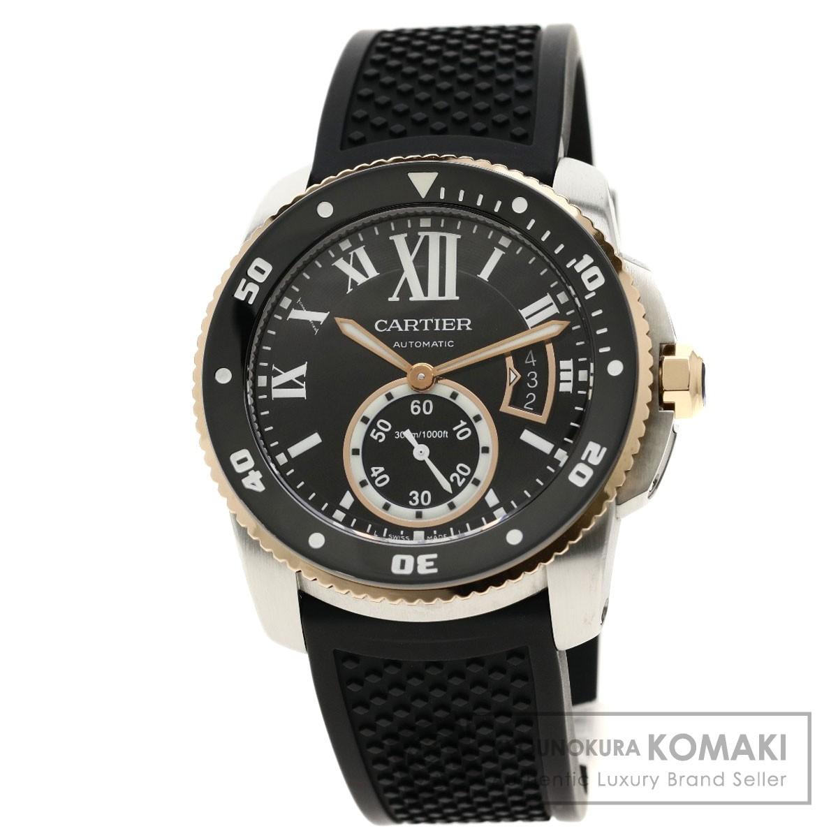 カルティエ W7100055 カリブル ドゥ カルティエ ダイバー 腕時計 ステンレススチール/ラバー/K18PG メンズ 【中古】【CARTIER】