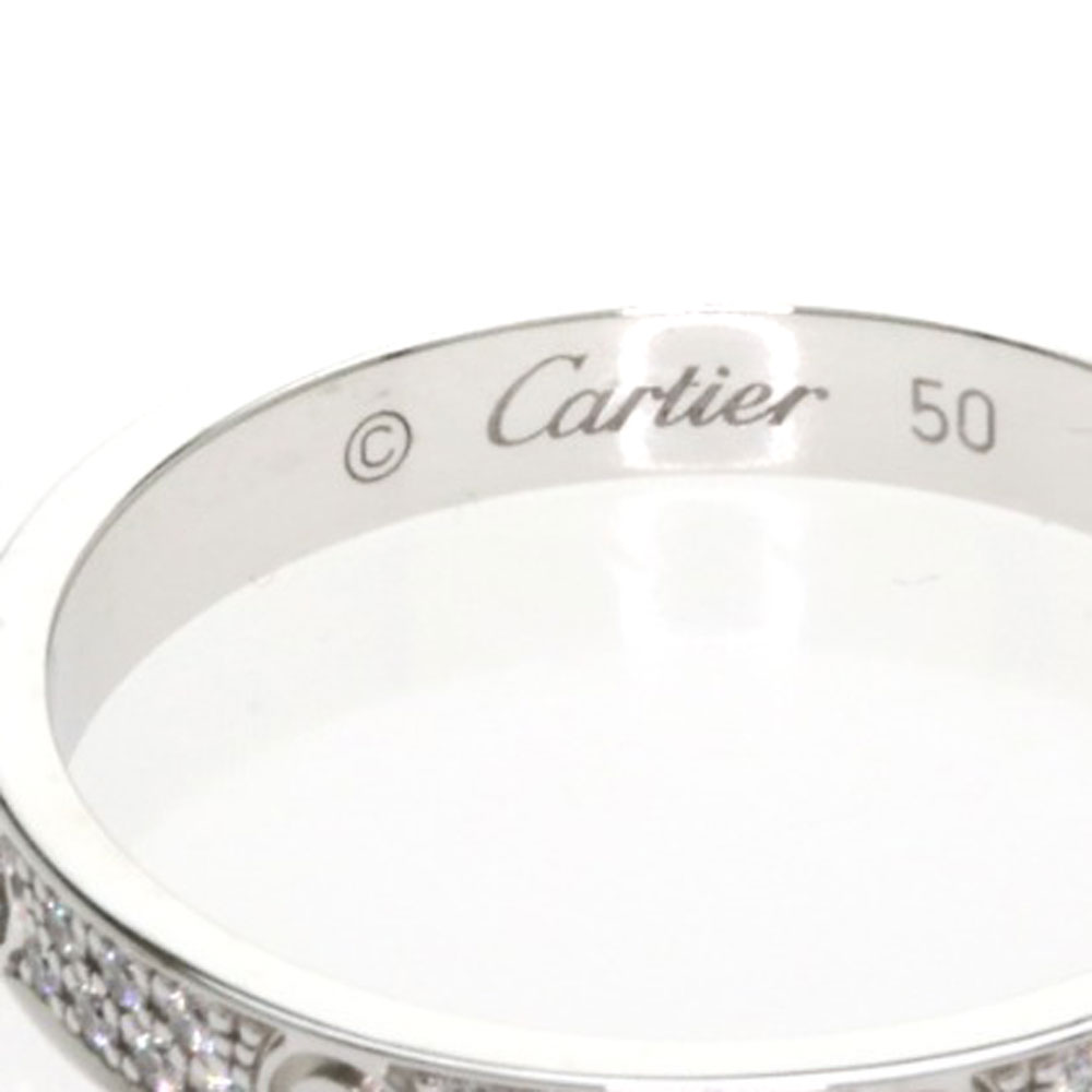 1907bca8db4b7 Authentic CARTIER love ring pave Diamond SM B4218200 Ring K18 White Gold