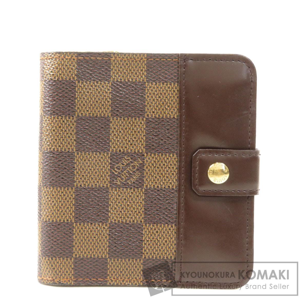 ルイヴィトン N61668 コンパクト・ジップ 二つ折り財布(小銭入れあり) ダミエキャンバス レディース 【中古】【LOUIS VUITTON】
