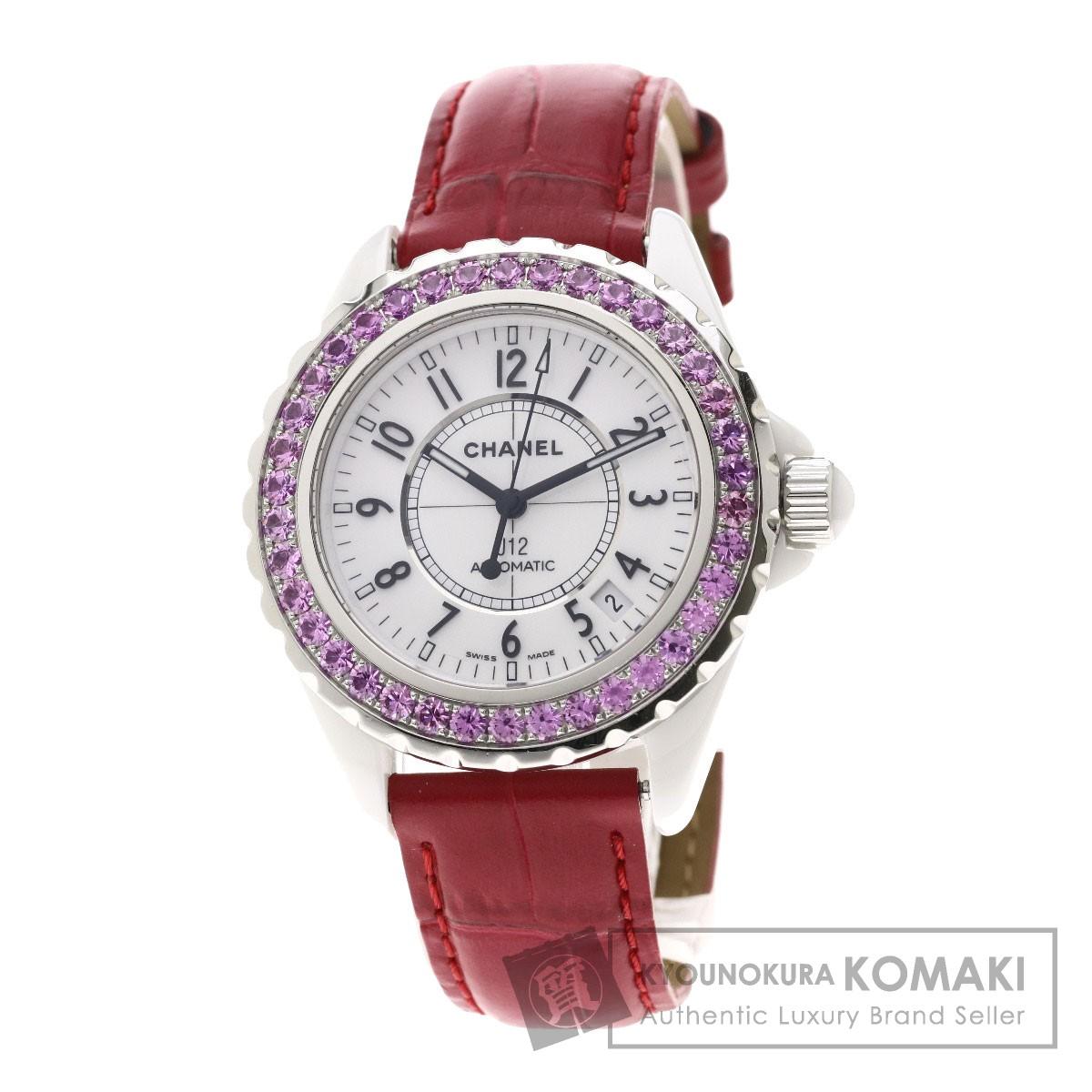 シャネル H1337 J12 38mm ピンクサファイア 腕時計 セラミック/革/サファイア メンズ 【中古】【CHANEL】