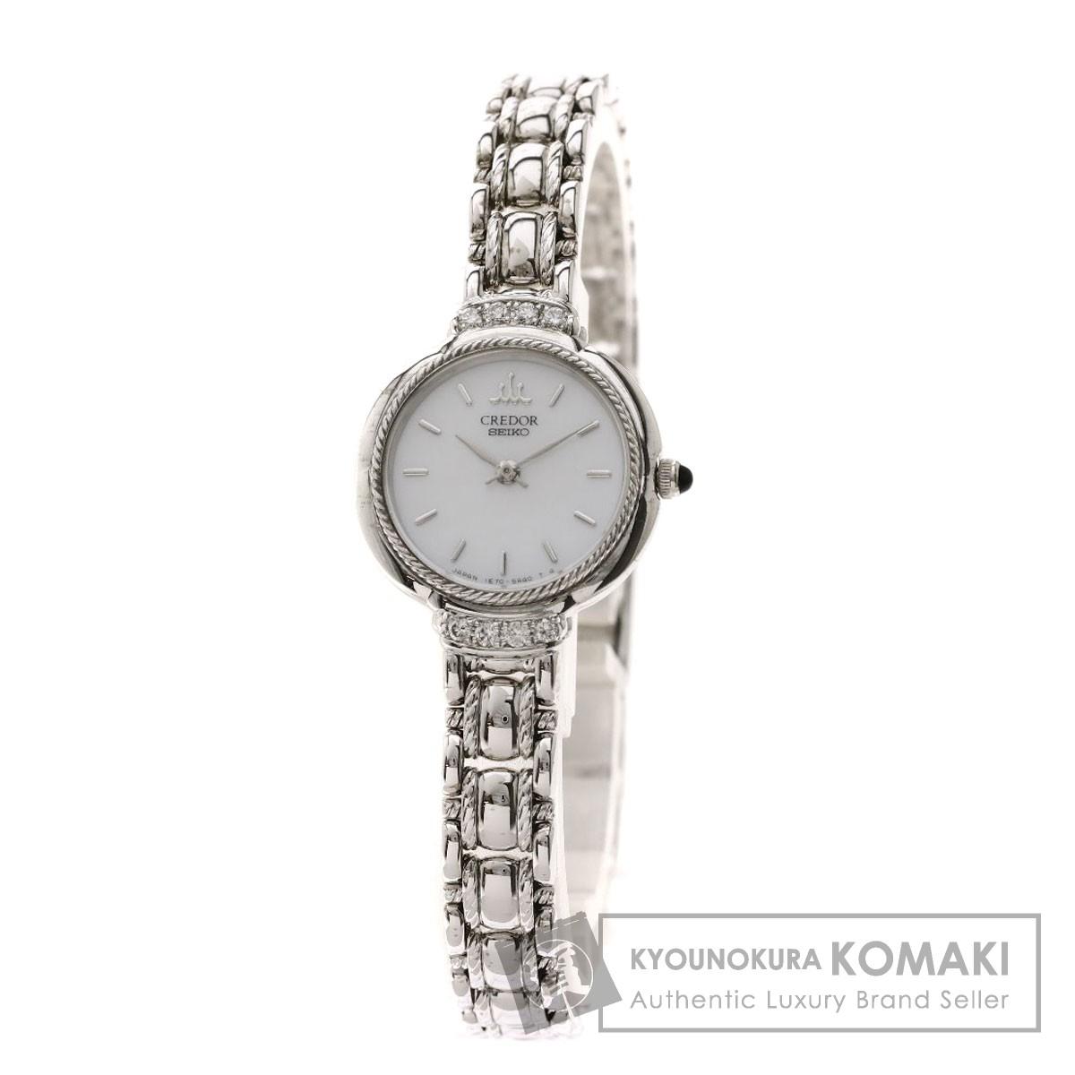 セイコー 1E70-2A50 クレドール ダイヤモンド 腕時計 K18ホワイトゴールド/K18WG レディース 【中古】【SEIKO】
