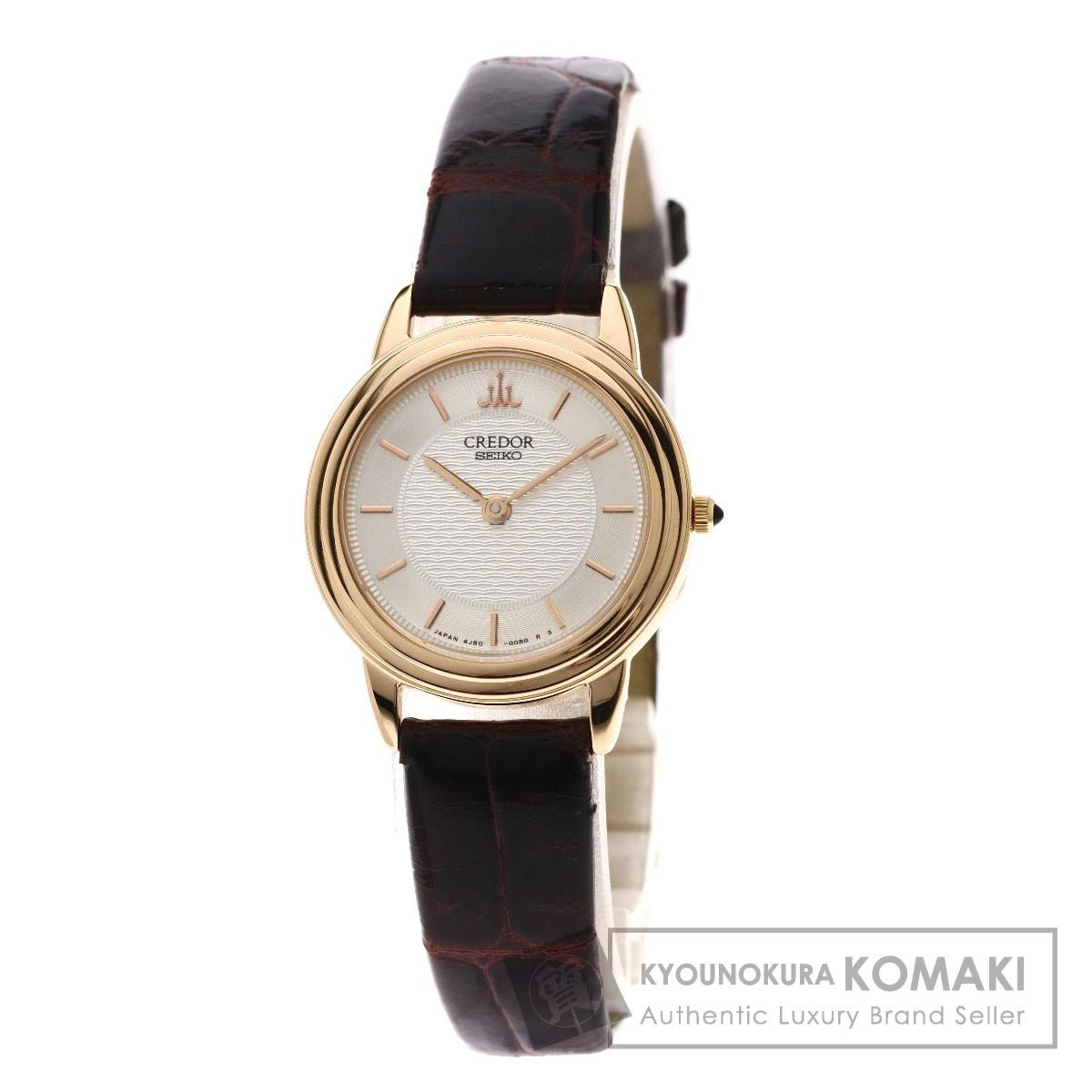 セイコー 4J80-0060 クレドール 腕時計 K18ピンクゴールド/革 レディース 【中古】【SEIKO】