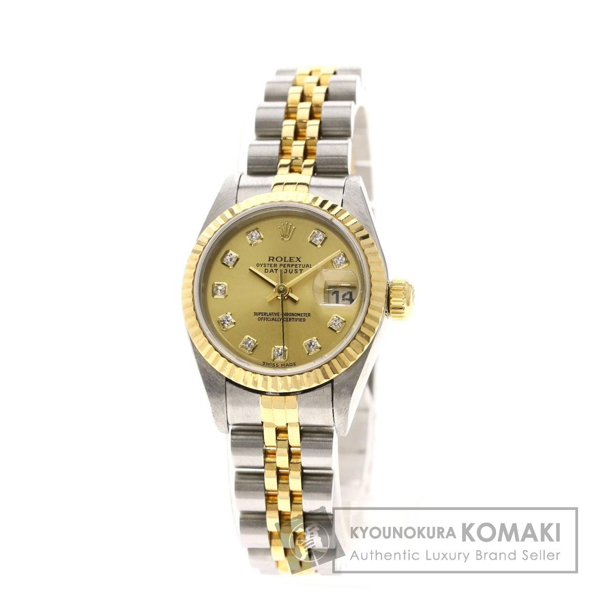 ロレックス 79173G デイトジャスト 10Pダイヤモンド 腕時計 ステンレススチール/SSxK18YG/K18YG レディース 【中古】【ROLEX】