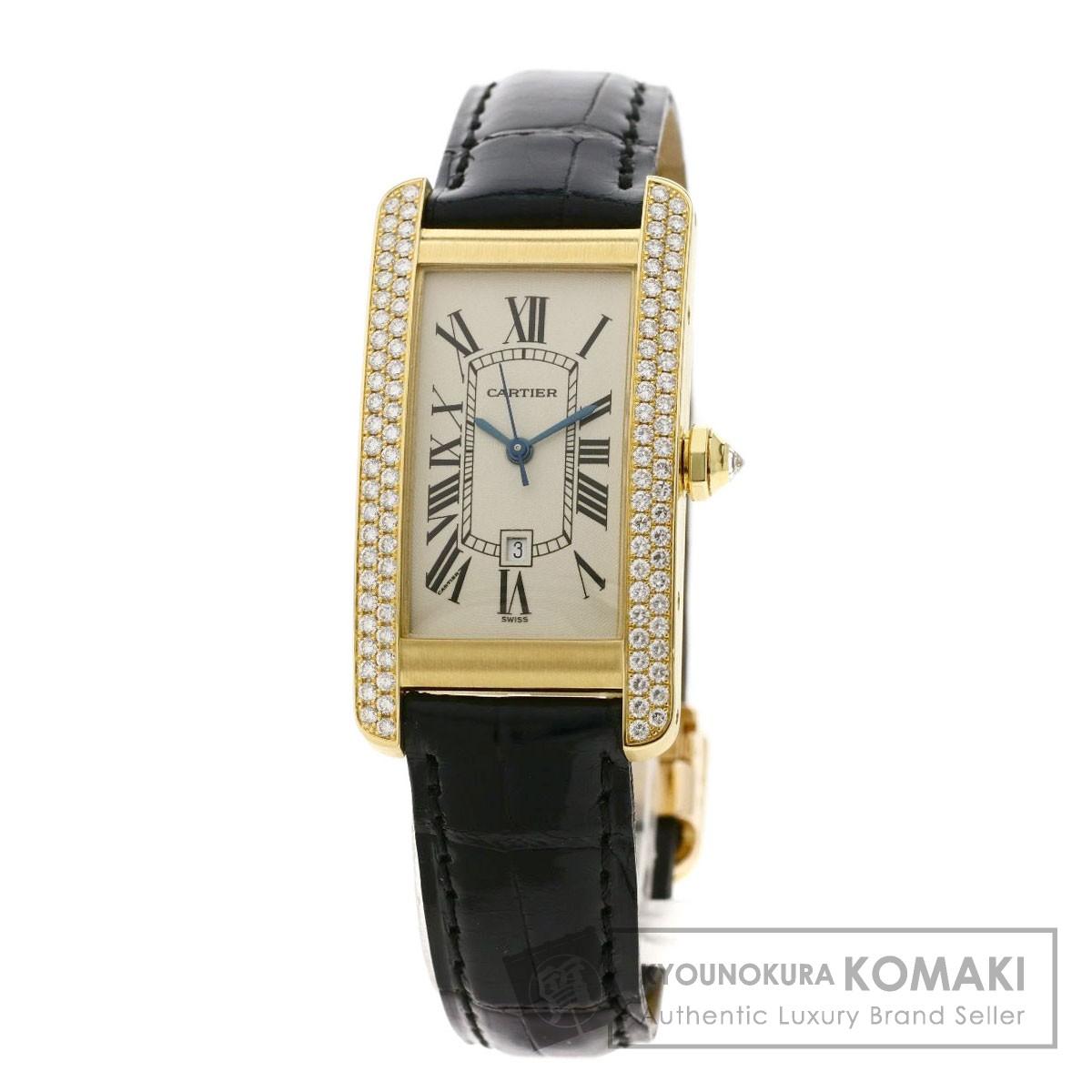 【即納&大特価】 カルティエ WB701951 タンクアメリカンMM 腕時計 K18イエローゴールド/革/ダイヤモンド メンズ 【】【CARTIER】, very-pet 03f1788d