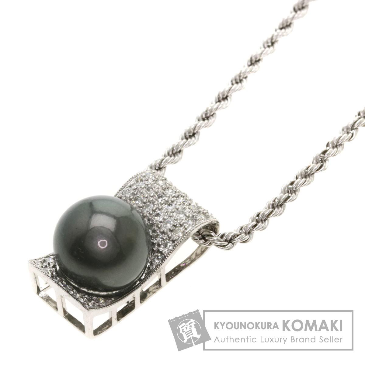 高品質 10.5ct ブラックパール 真珠 ダイヤモンド ネックレス K18ホワイトゴールド 7.3g レディース 【】, 遊太郎 36ce7bdf