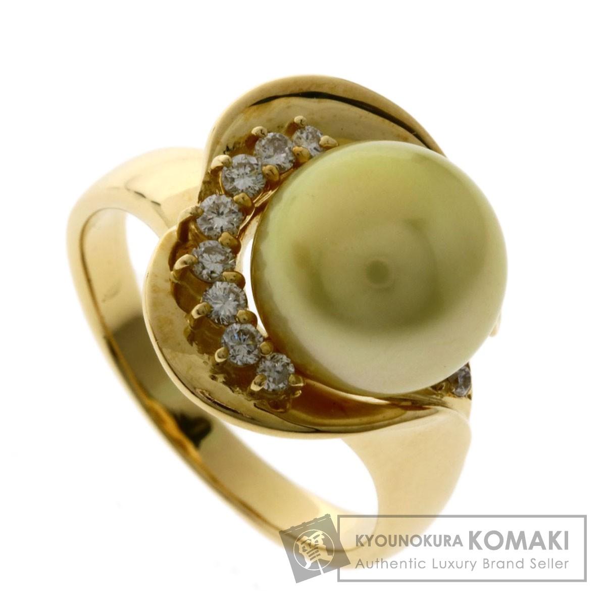 10.5ct パール 真珠 ダイヤモンド リング・指輪 K18イエローゴールド 9.1g レディース 【中古】