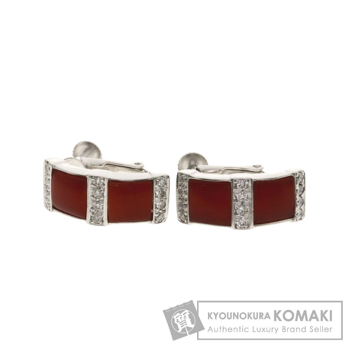 サンゴ 珊瑚 ダイヤモンド イヤリング K18ホワイトゴールド/K14WG 5.6g レディース 【中古】