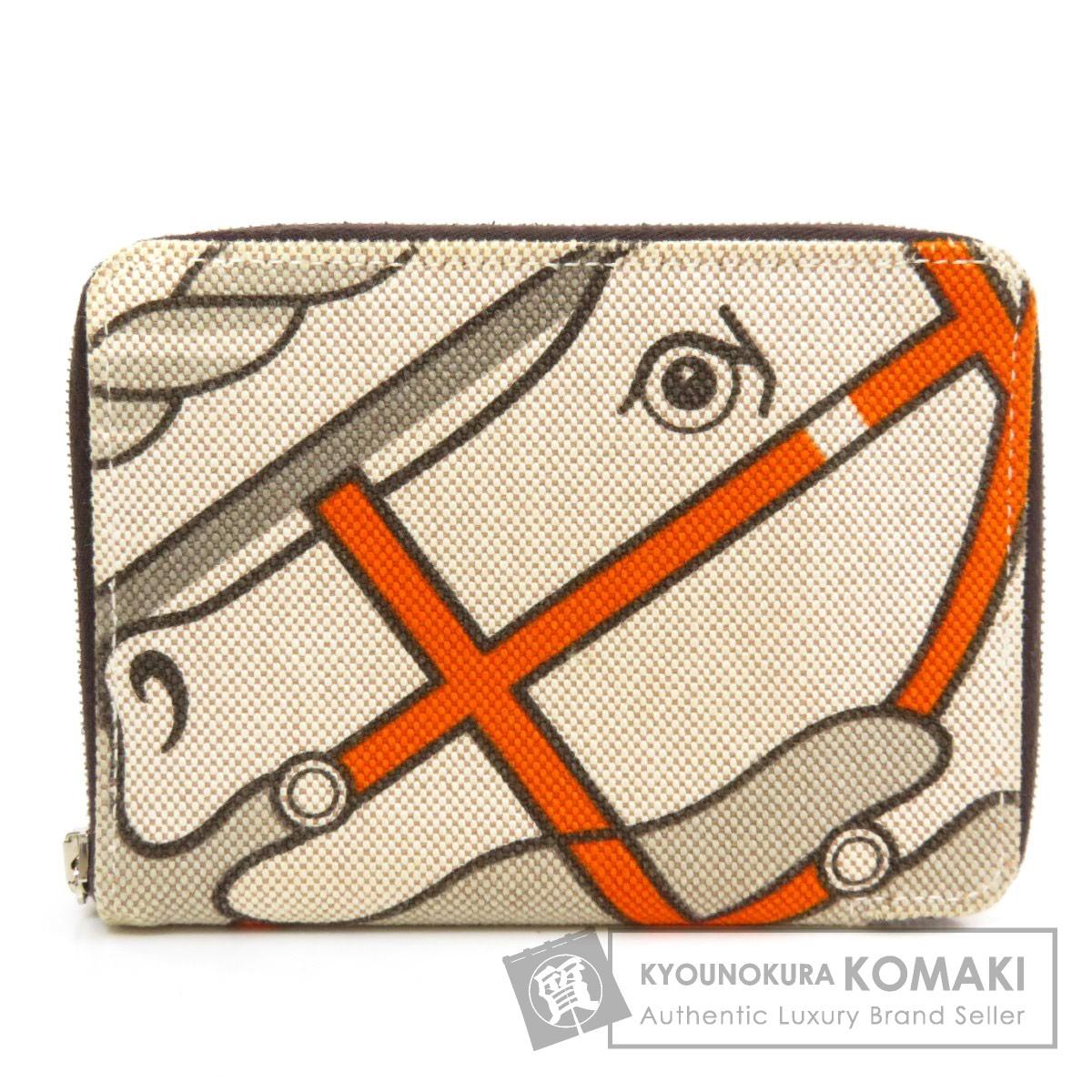 エルメス スティープルPM 二つ折り財布(小銭入れあり) キャンバス レディース 【中古】【HERMES】
