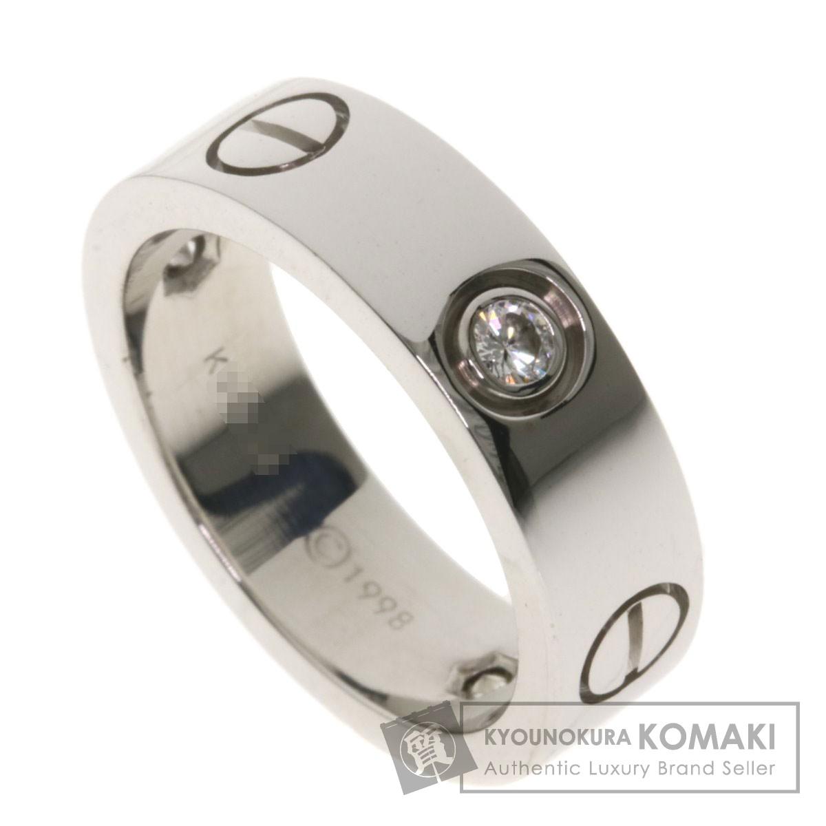 カルティエ ラブリングハーフダイヤモンド #50 リング・指輪 K18ホワイトゴールド レディース 【中古】【CARTIER】