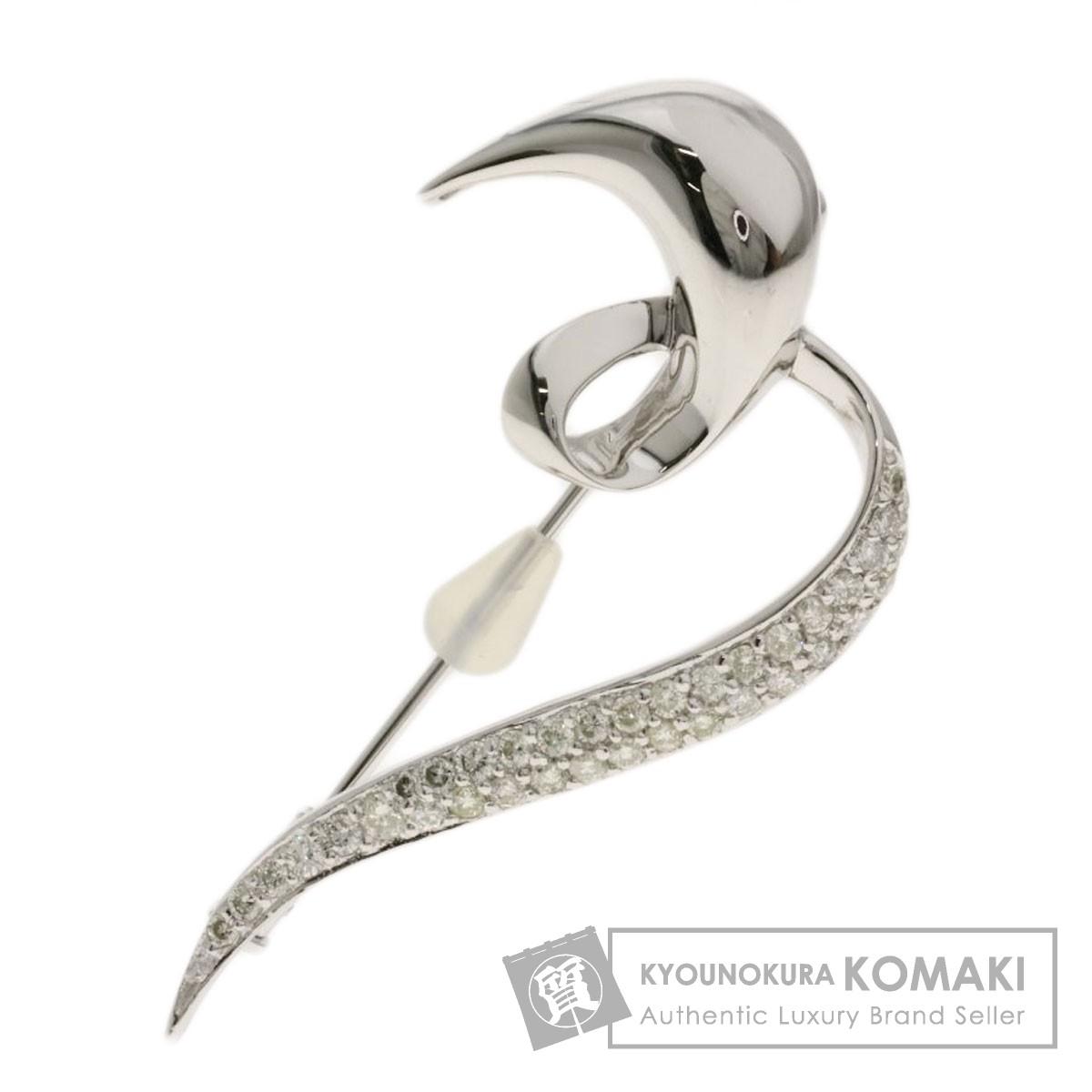0.6ct ダイヤモンド ブローチ K18ホワイトゴールド 6.9g レディース 【中古】