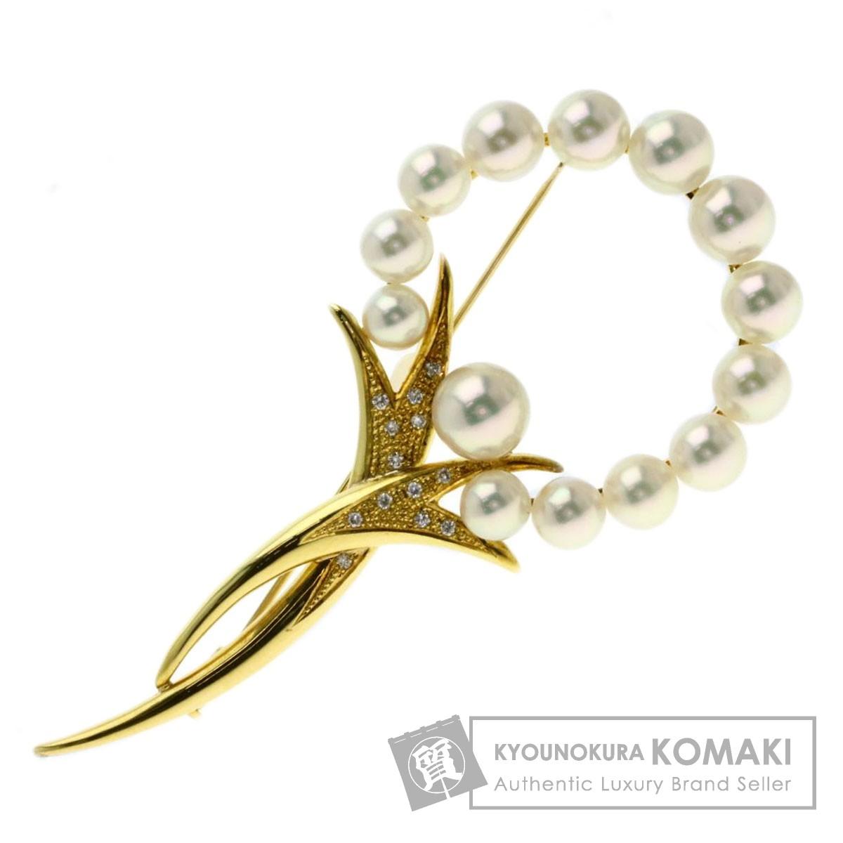 0.13ct アコヤパール 真珠 ダイヤモンド ブローチ K18イエローゴールド 16.7g レディース 【中古】
