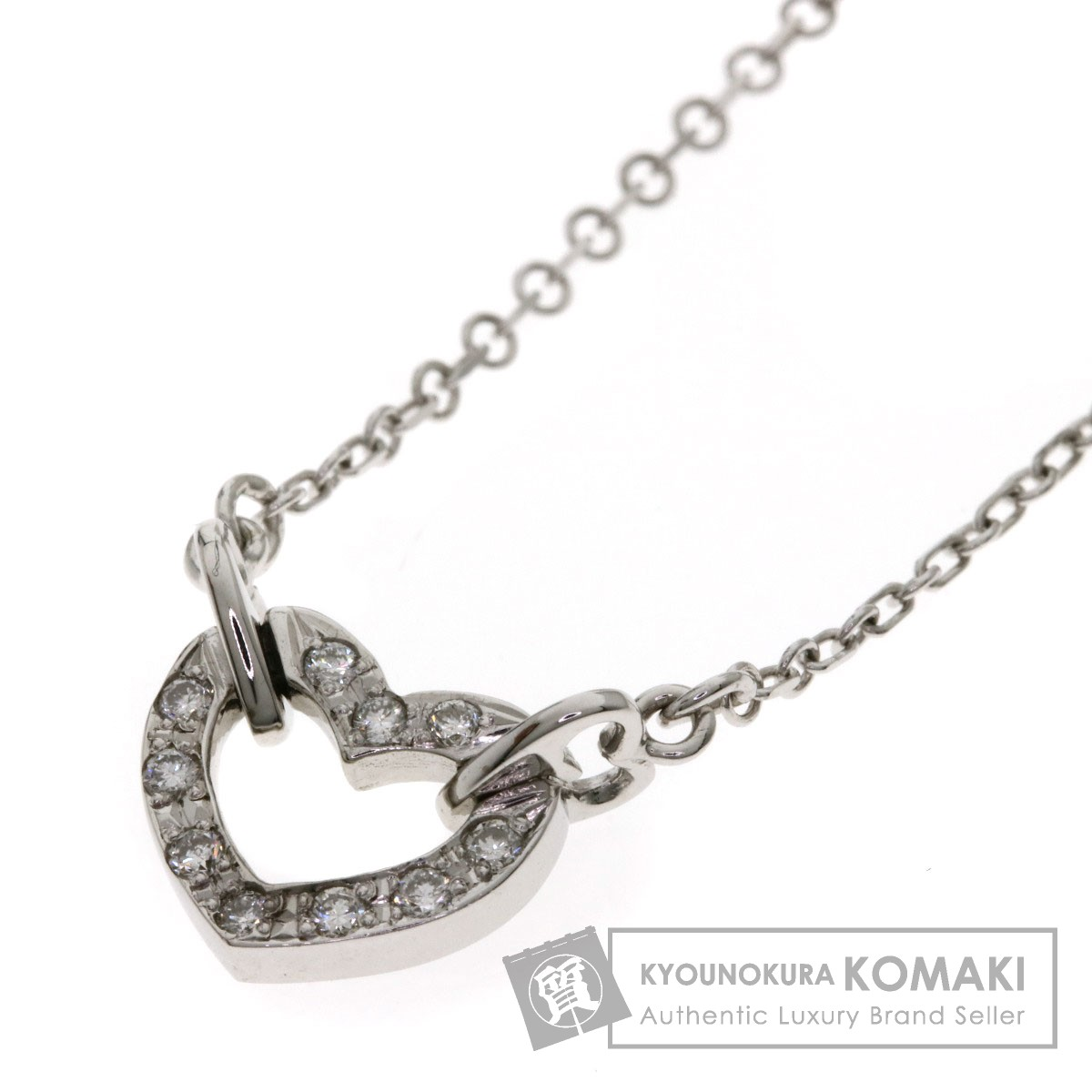 0.1ct メレダイヤモンド ハートモチーフ ネックレス K18ホワイトゴールド 2.8g レディース 【中古】