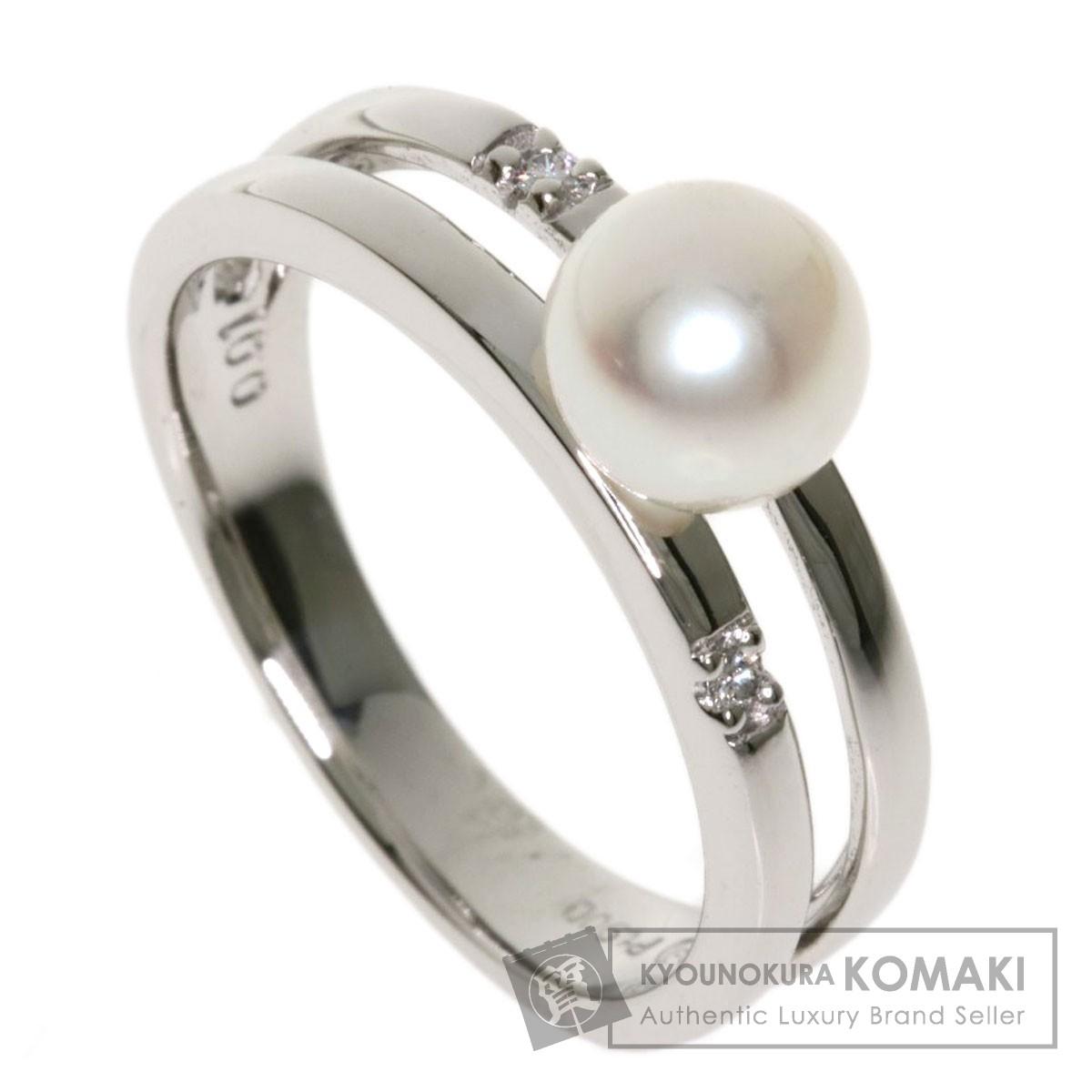 タサキ アコヤパール 真珠 ダイヤモンド リング・指輪 プラチナPT900 レディース 【中古】【TASAKI】
