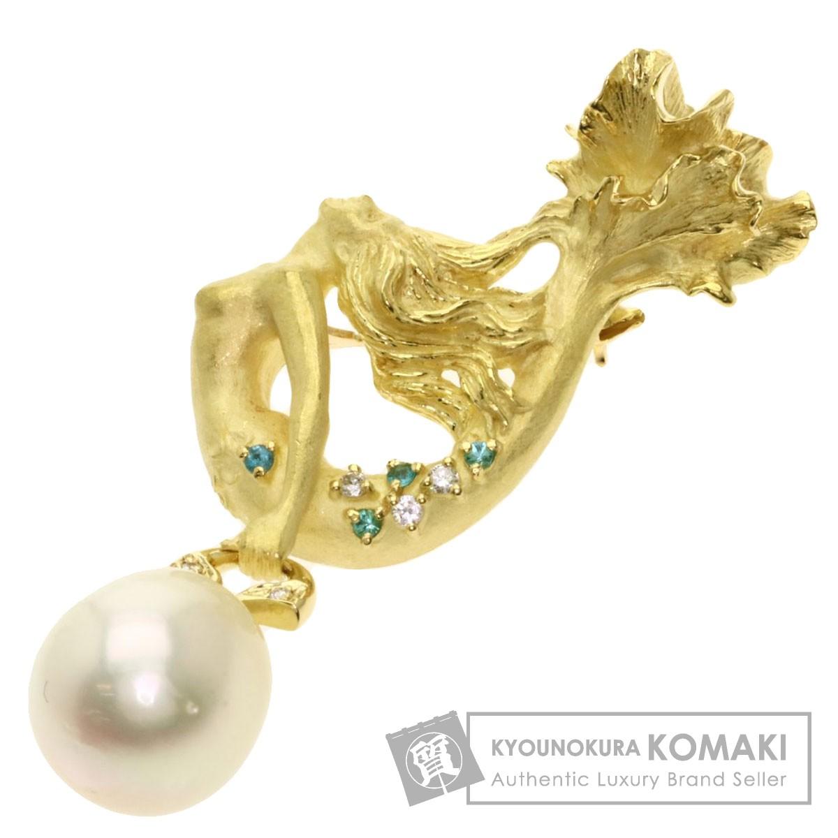 白蝶パール 真珠 ダイヤモンド トルマリン ブローチ K18イエローゴールド 16.8g レディース 【中古】