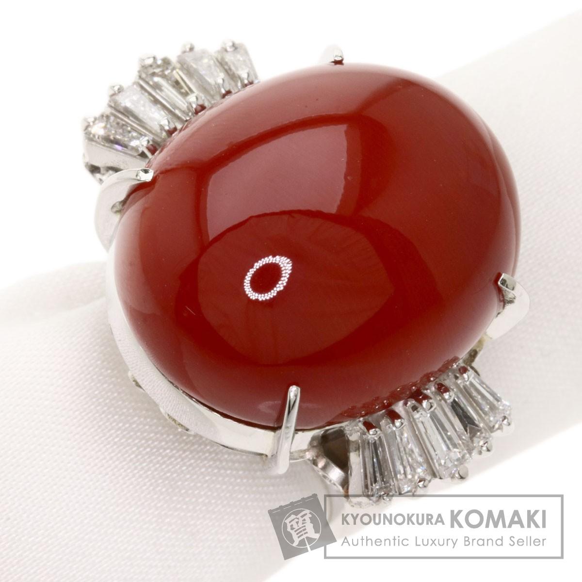 0.67ct サンゴ 珊瑚 ダイヤモンド リング・指輪 プラチナPT900 18.7g レディース 【中古】