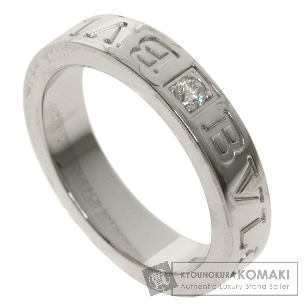 ブルガリ ダブルロゴリング 1P ダイヤモンド リング・指輪 K18ホワイトゴールド レディース 【中古】【BVLGARI】
