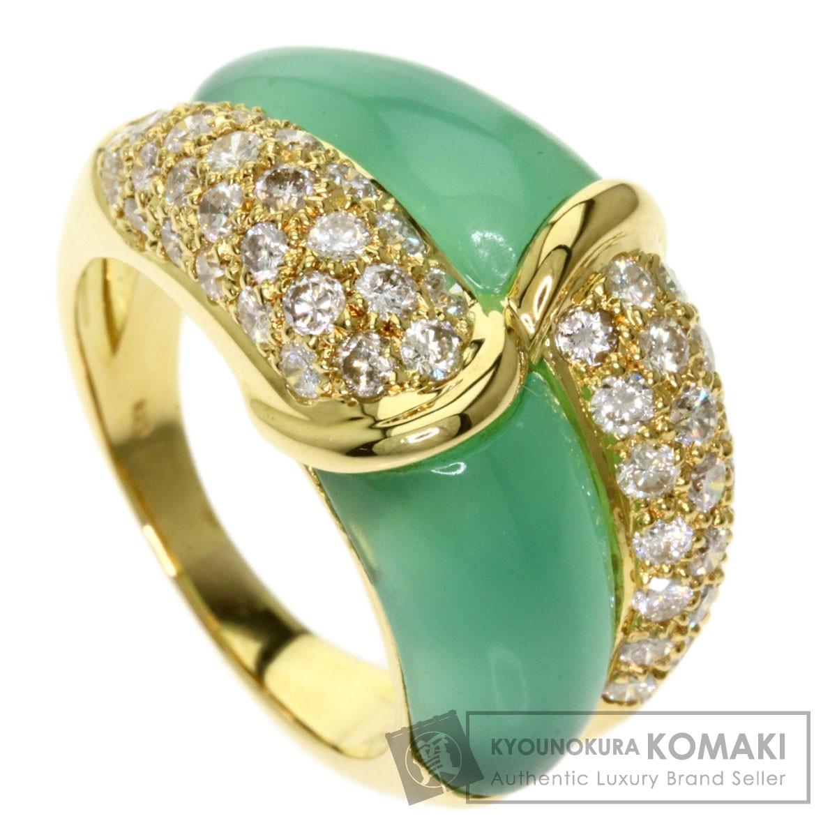 1.43ct クリソプレーズ ダイヤモンド リング・指輪 K18イエローゴールド 11.2g レディース 【中古】