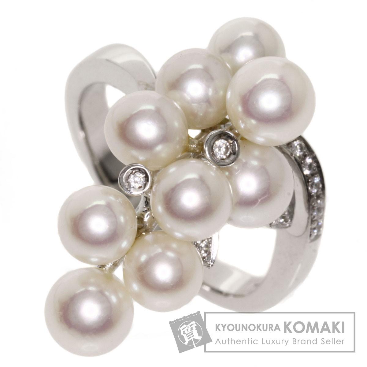 パール 真珠 ダイヤモンド リング・指輪 K14ホワイトゴールド 7.3g レディース 【中古】