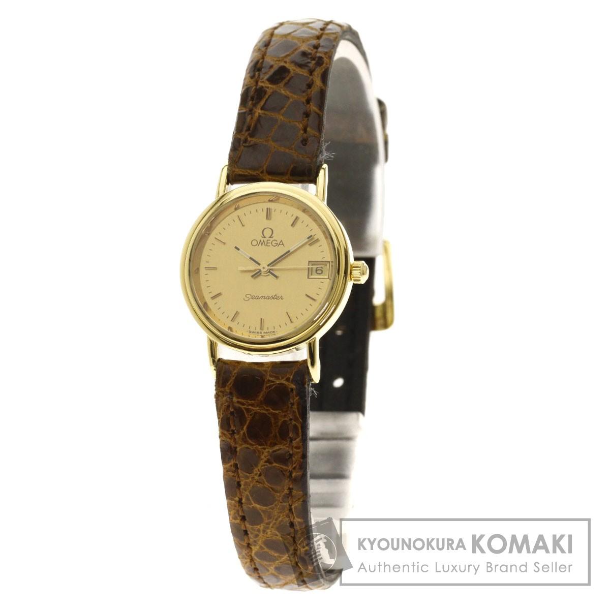 オメガ シーマスター 腕時計 K18イエローゴールド/革 レディース 【中古】【OMEGA】